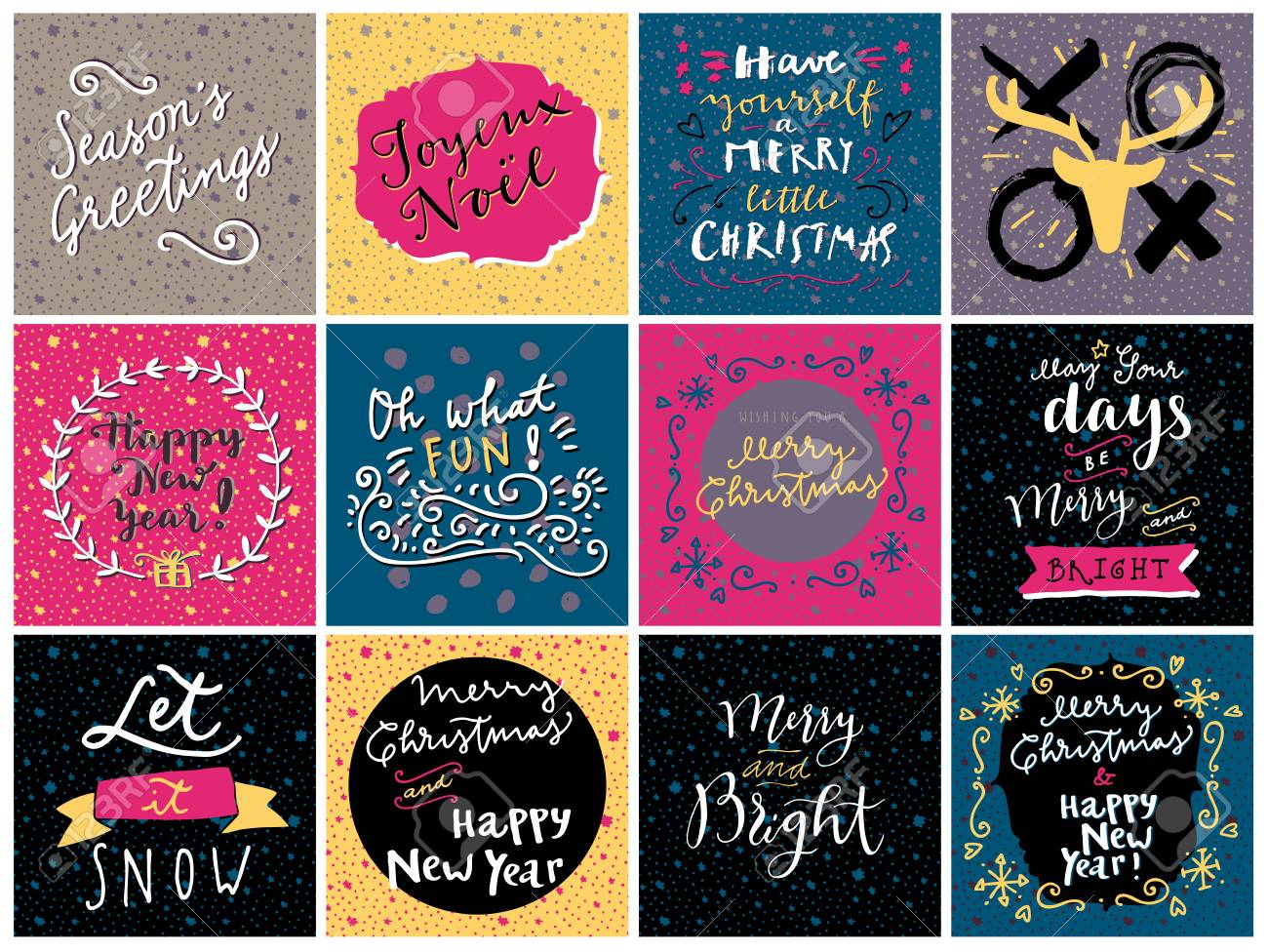 set of hipster hand drawn merry christmas and happy new year greeting cards in vector