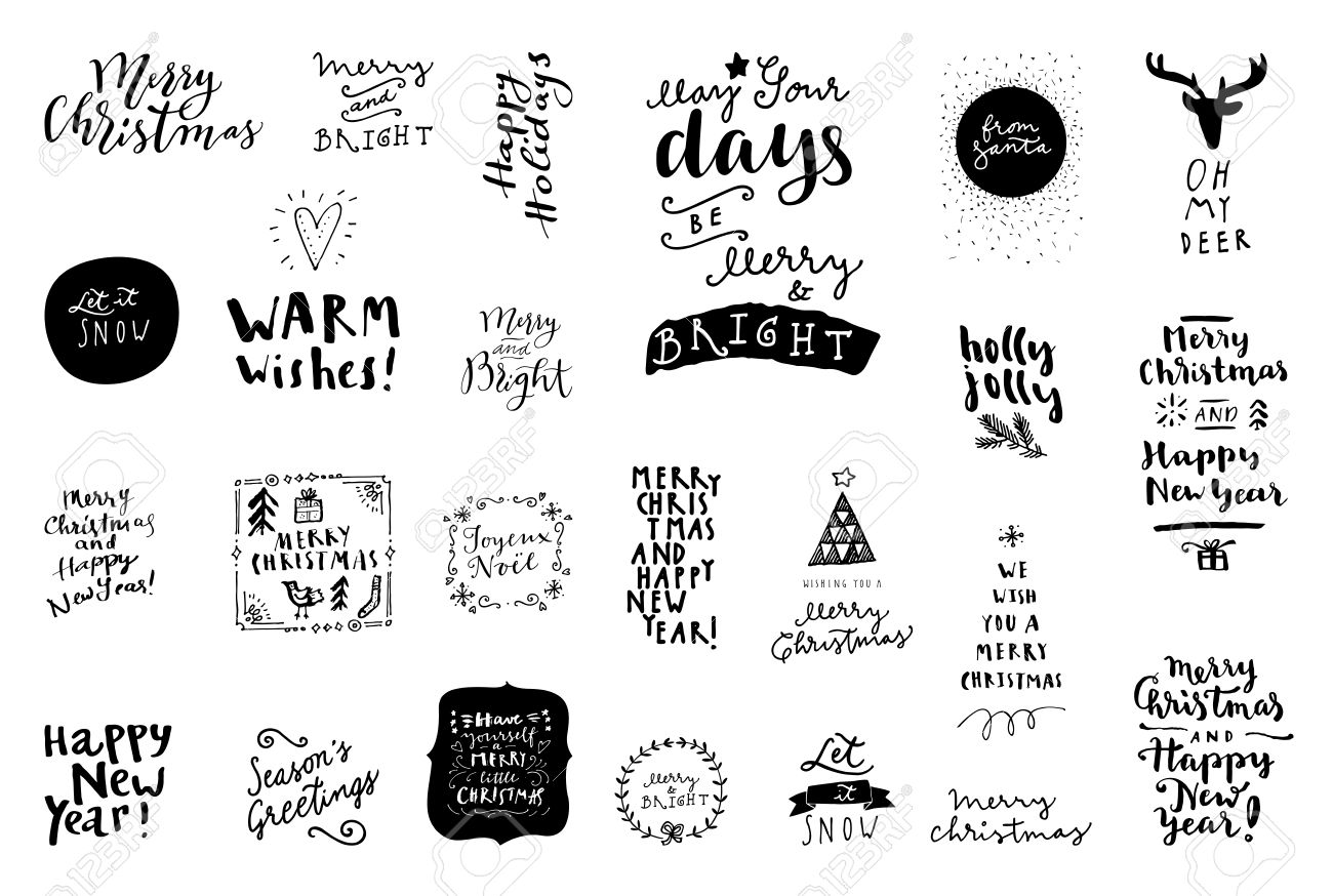 Black and white set of Merry Christmas and Happy New Year vintage hand drawn, badges , quotes and phrases. For gift tags, postcards, posters. Modern calligraphic artwork in vector - 64117469