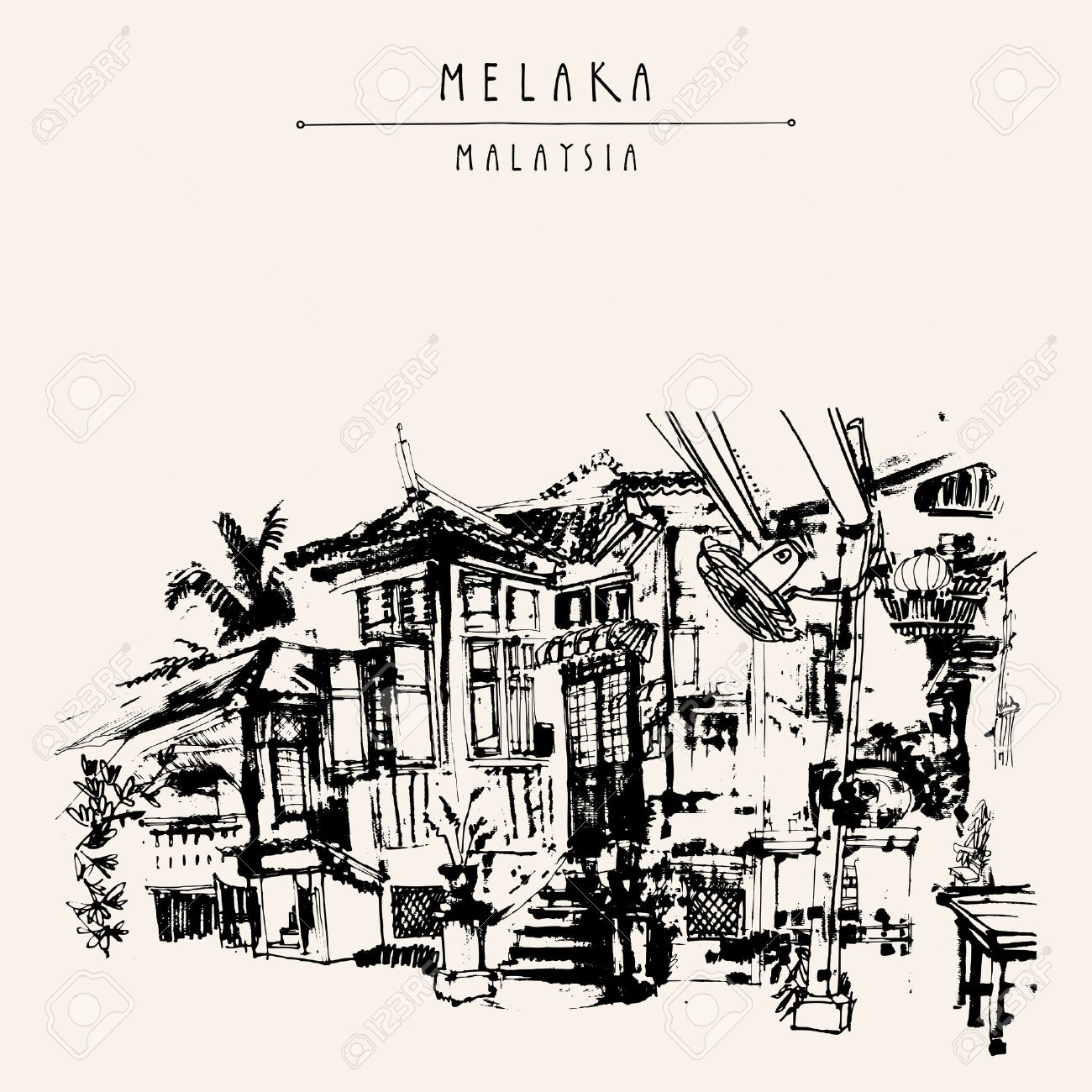 An old Chinese wooden house in Melaka, Malaysia, Southeast Asia. Travel sketch. Hand drawn touristic vintage postcard, poster or book illustration in vector - 64118005