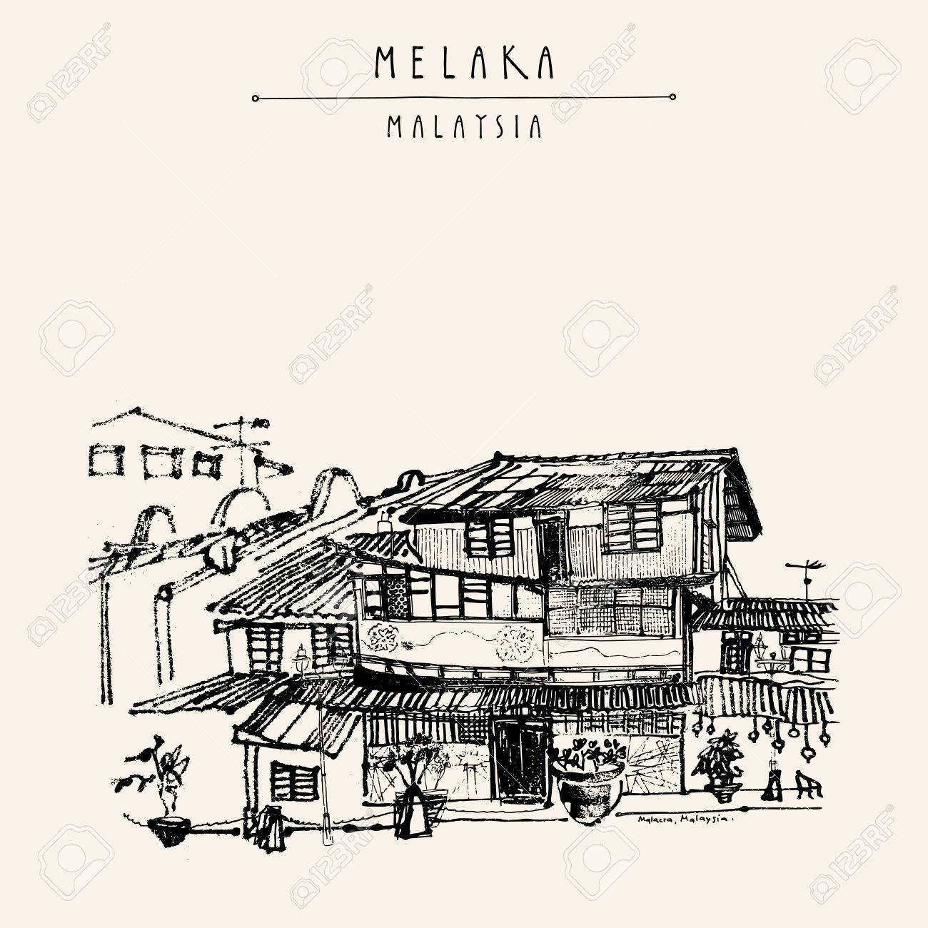Houses on the river in Melaka, Malaysia, Southeast Asia. Colonial buildings. Travel sketch. Vintage touristic hand drawn postcard in vector - 64118066