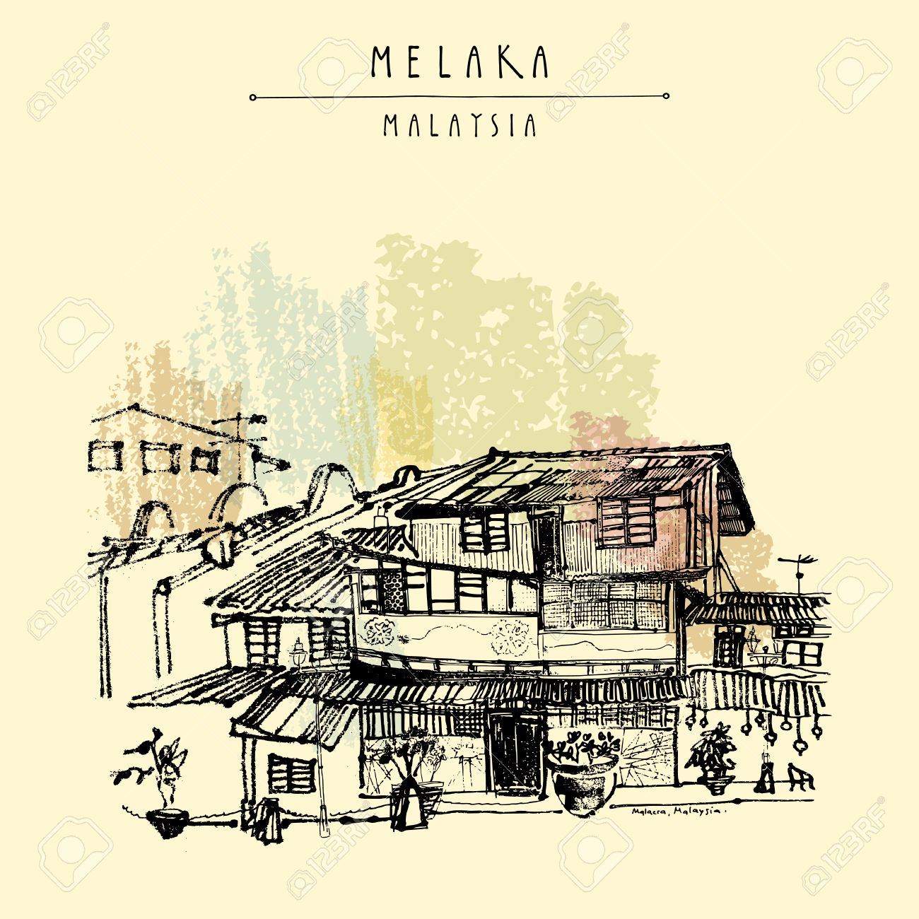 Houses on the river in Melaka, Malaysia, Southeast Asia. Colonial buildings. Travel sketch. Vintage touristic hand drawn postcard in vector - 64118073