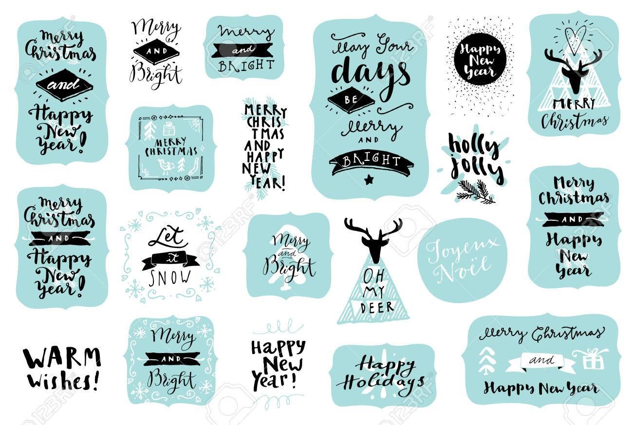 Frases Y Citas Para Navidad.Conjunto De Feliz Navidad Y Feliz Ano Nuevo Dibujado Mano Vintage Insignias Citas Y Frases En Colores Clasicos Para Etiquetas De Regalo Postales