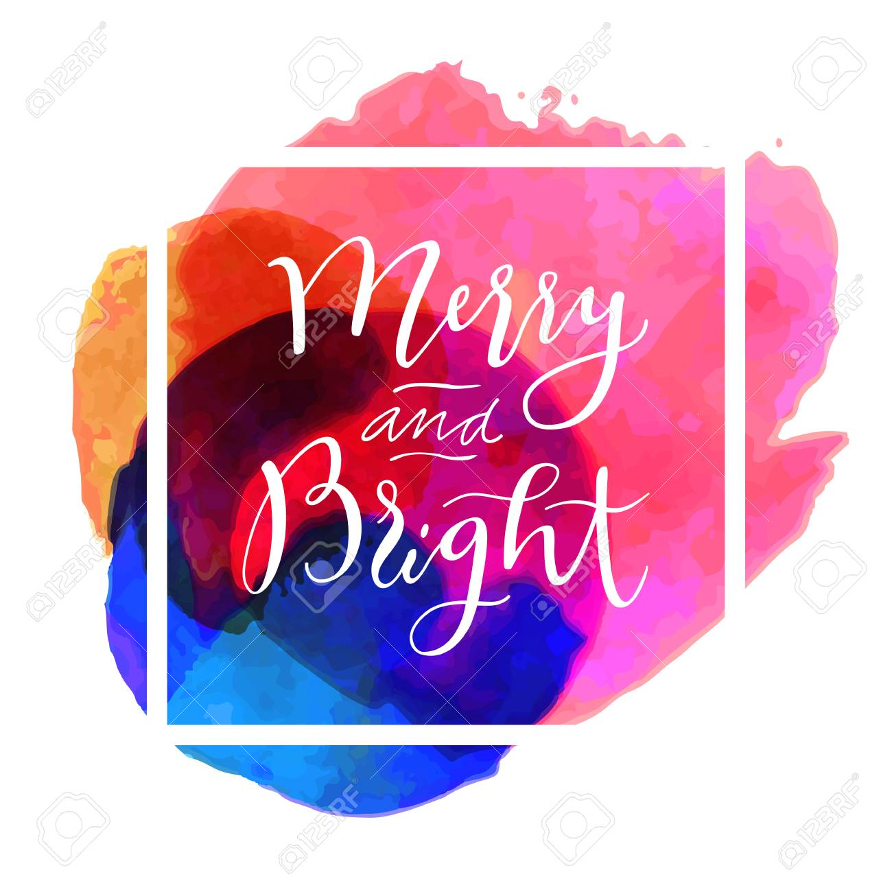 Merry and Bright. Modern calligraphy. Handwritten inspirational Merry Christmas quote. Calligraphic hand lettered greeting card with watercolor, square frame. Vector illustration - 64873555