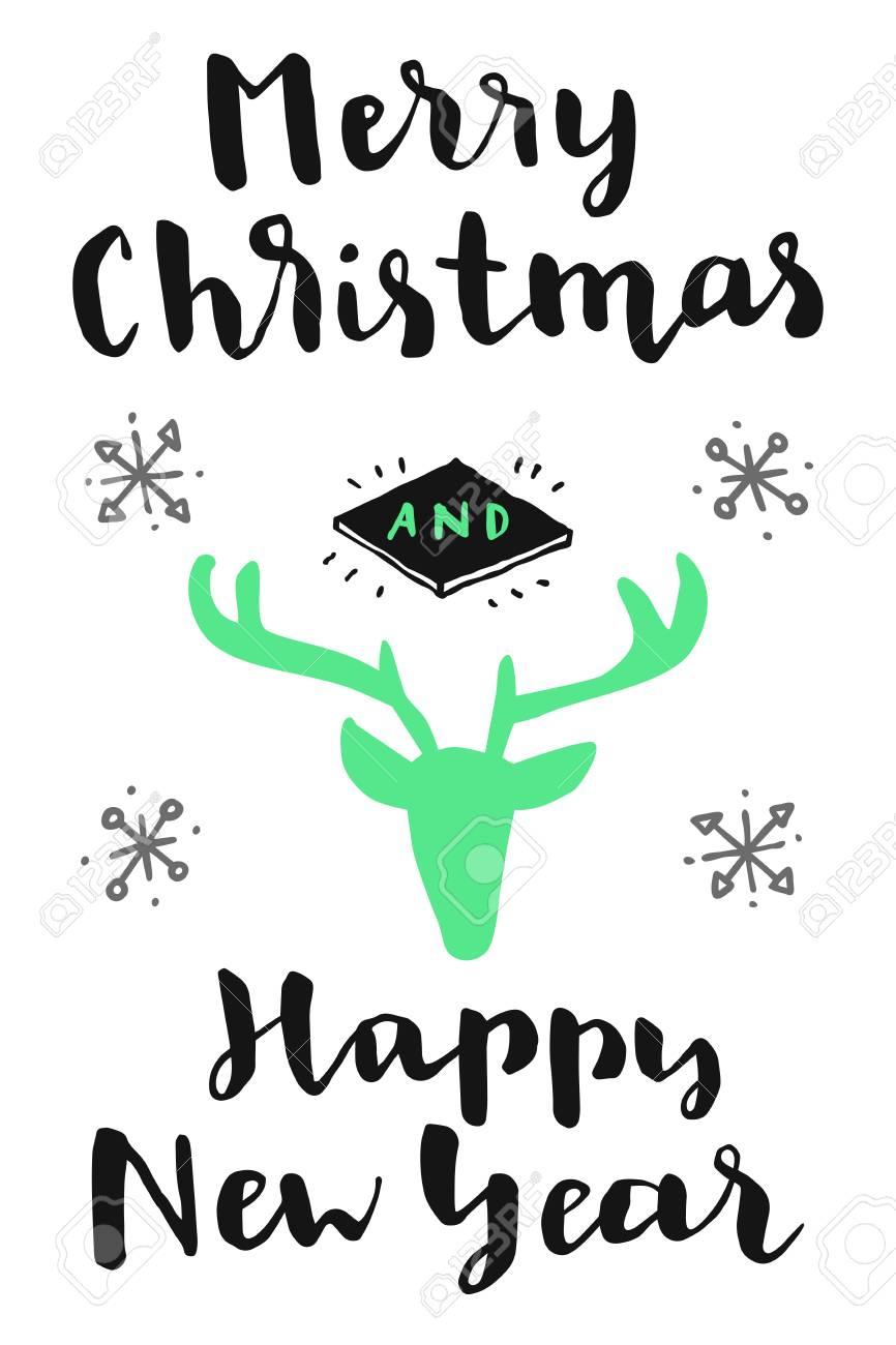 Frohe Weihnachten Und Ein Gutes Neues Jahr! Vintage Hand Grußkarte ...