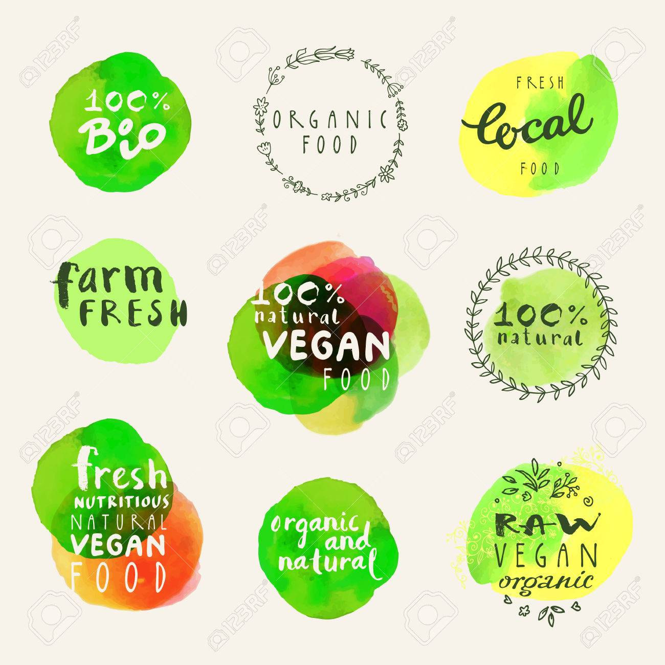 Watercolor organic labels collection. Retro style set of 100% bio organic gluten free eco bio food restaurant menu logo label templates with floral and vintage elements and watercolour splashes in vector - 64874207