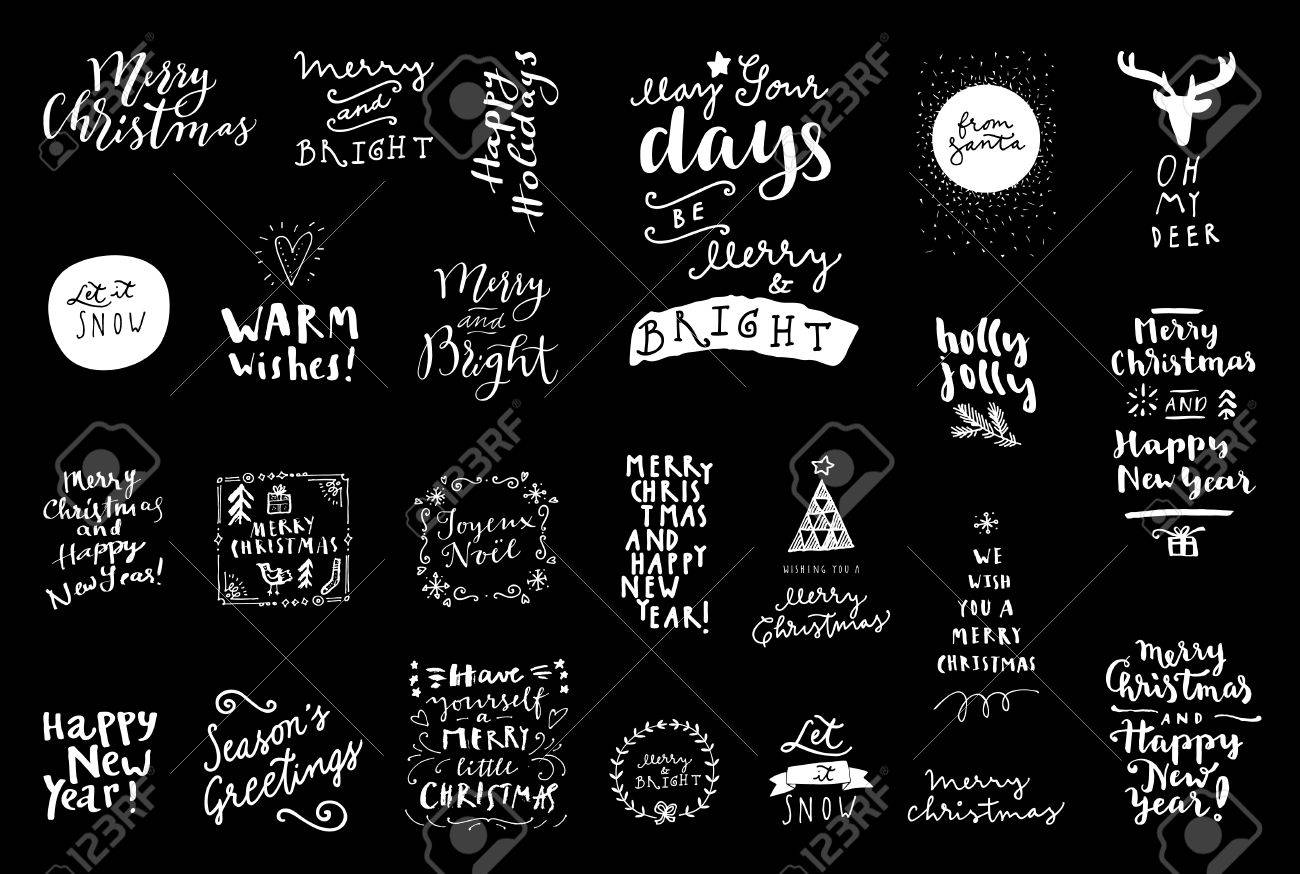 Black And White Set Of Merry Christmas Happy New Year Vintage Hand Drawn Logos