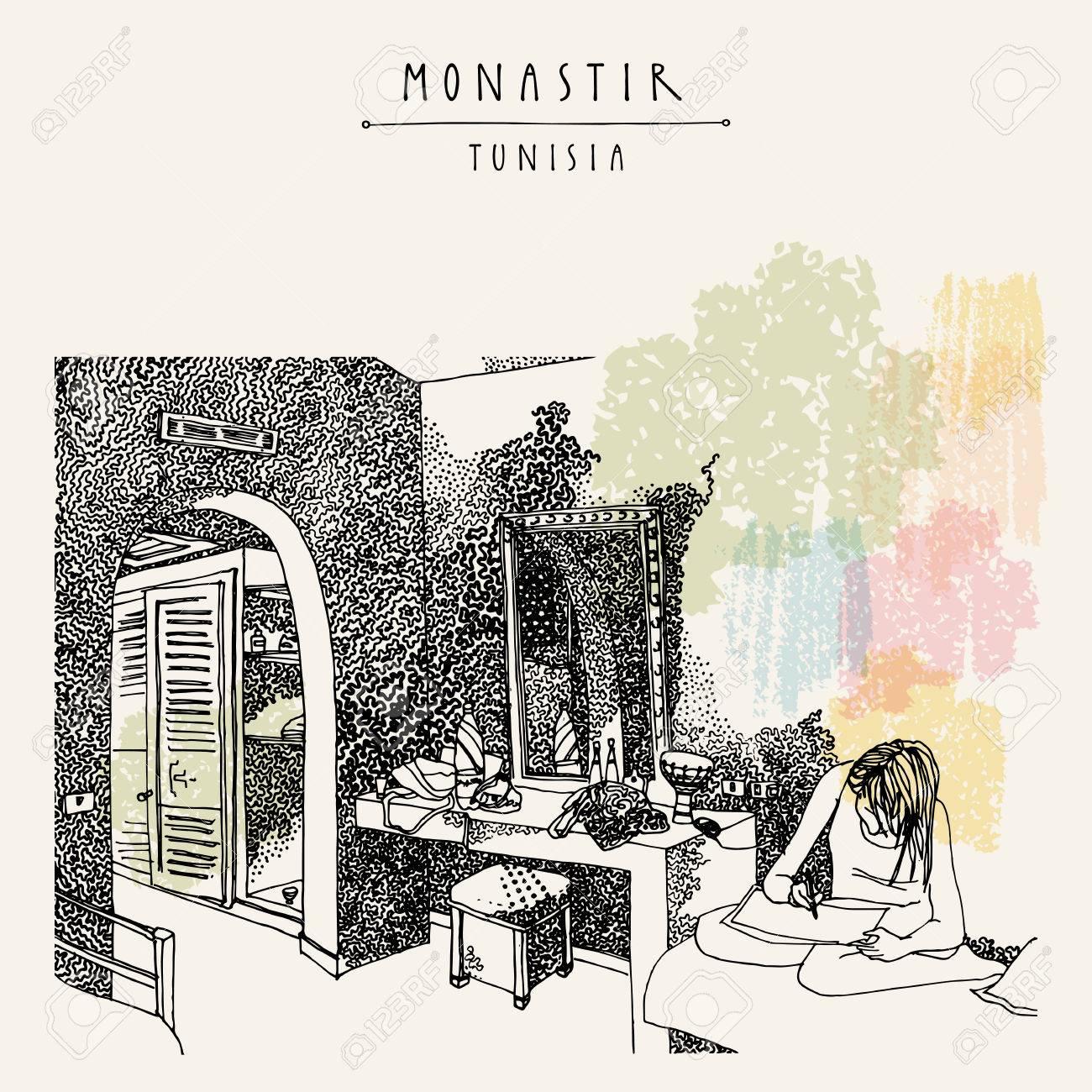 Chambre D\'Hôtel à Monastir, Tunisie, Afrique Du Nord. Fille Assise ...