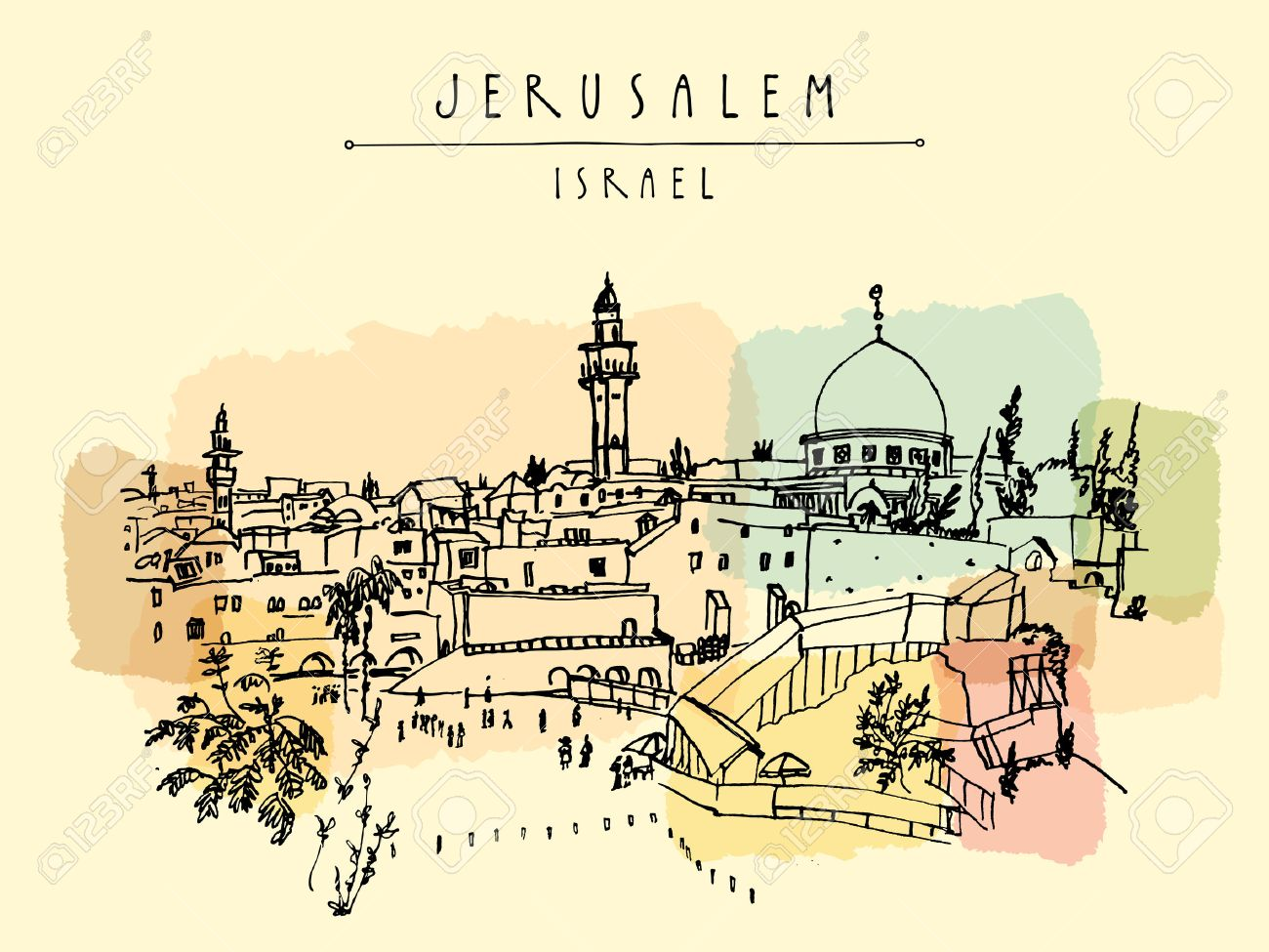 Jerusalem, Israel. City skyline. Wailing wall. Hand drawing. Postcard poster template. Jerusalem city view postcard with hand lettering - 66244981