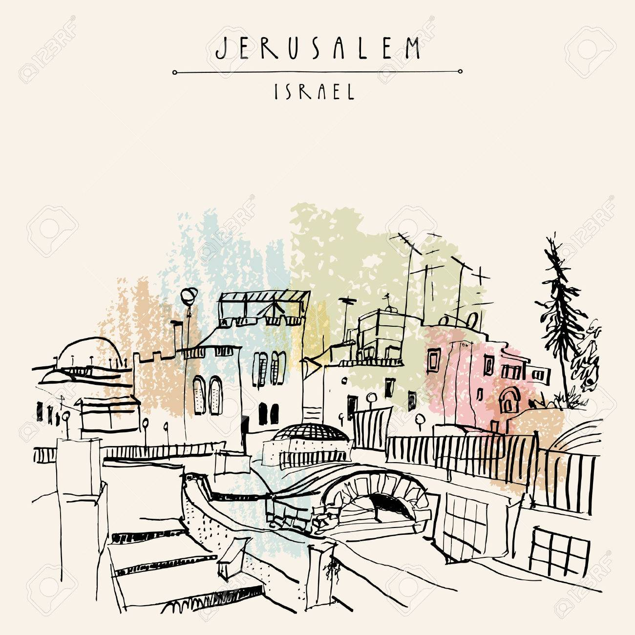 Roofs of Jerusalem above Arabic market, Israel. Jewish quoter. Travel sketch. Hand drawn touristic postcard, poster, calendar or book illustration. Jerusalem city view postcard with hand lettering in vector - 66245113