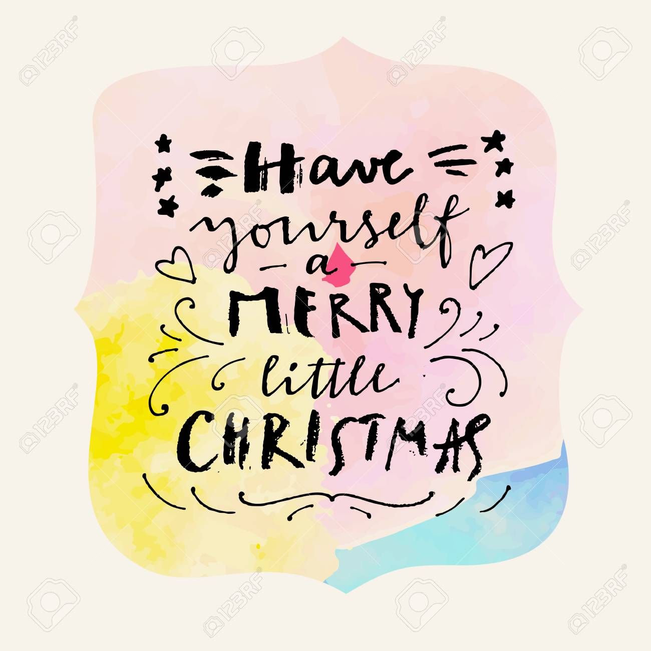 Have Yourself A Merry Little Christmas. Calligraphic Hand Drawn ...