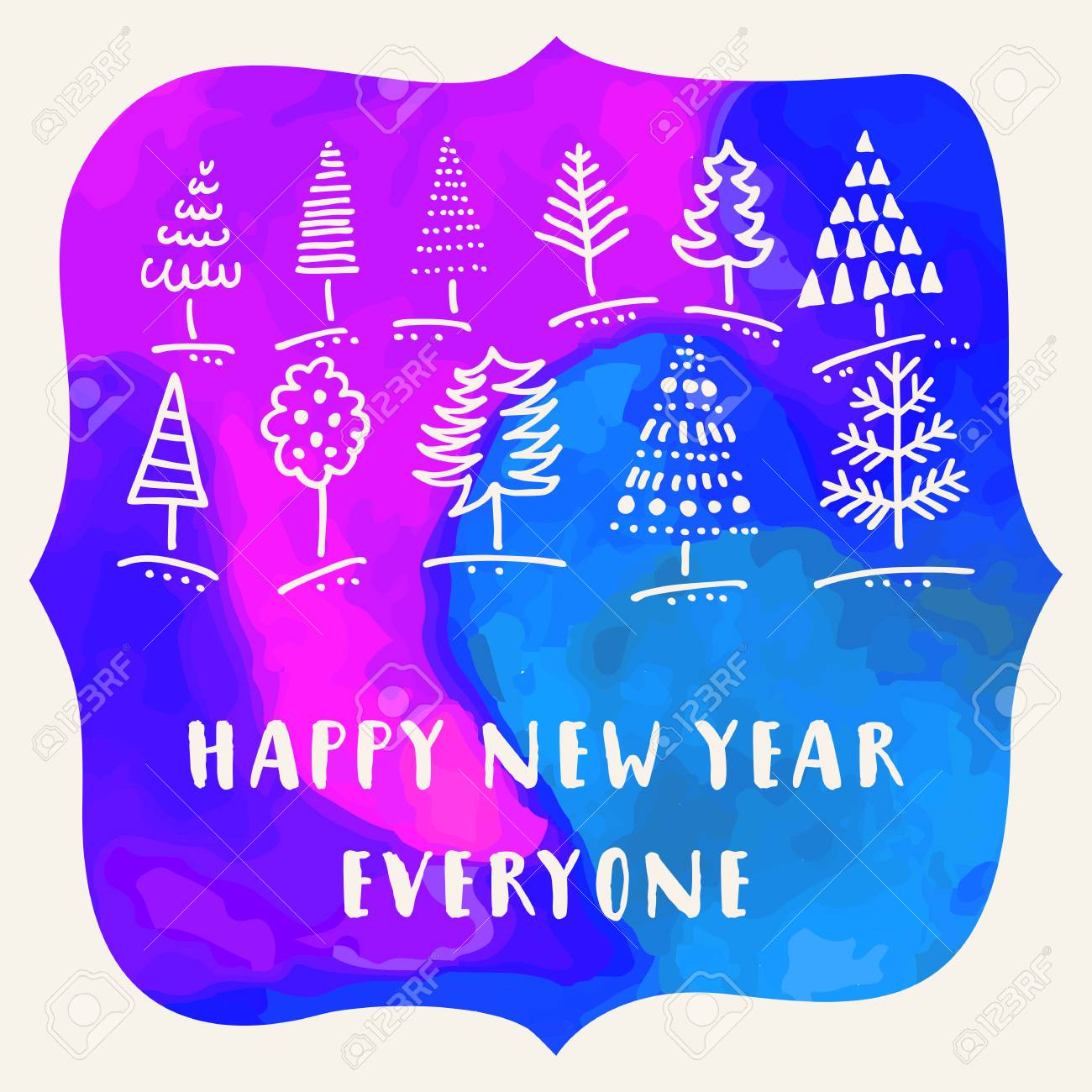 happy new year everyone creative artistic hand drawn greeting card on a blue watercolor background