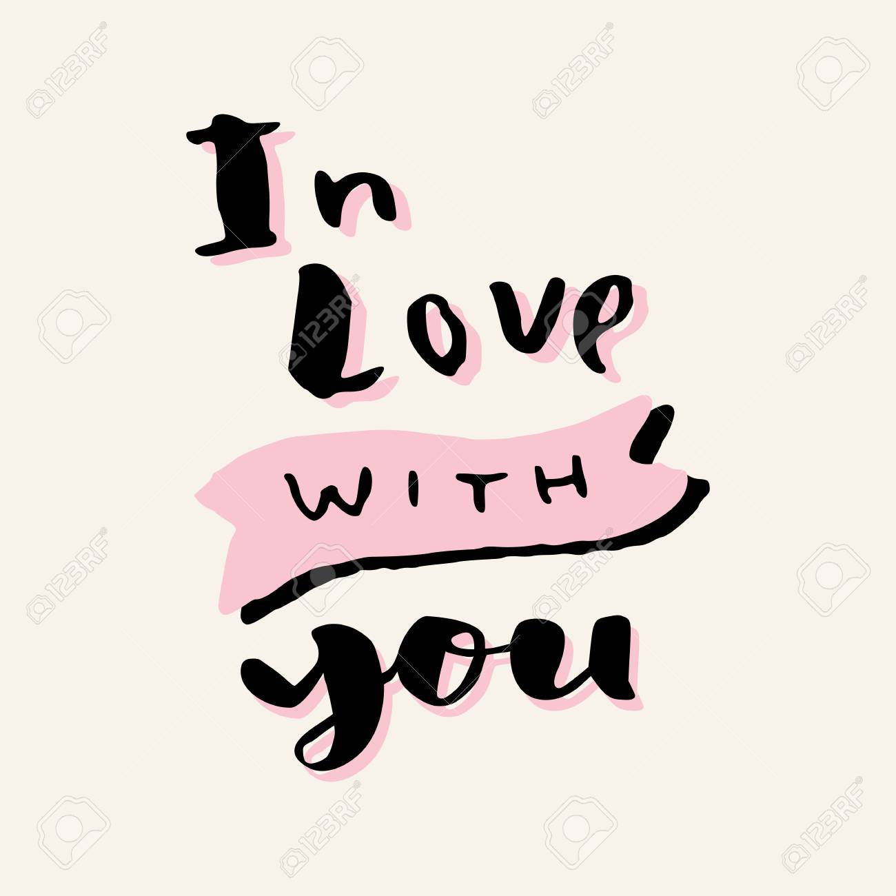 In Love With You Valentines Day Hand Lettering Greeting Card