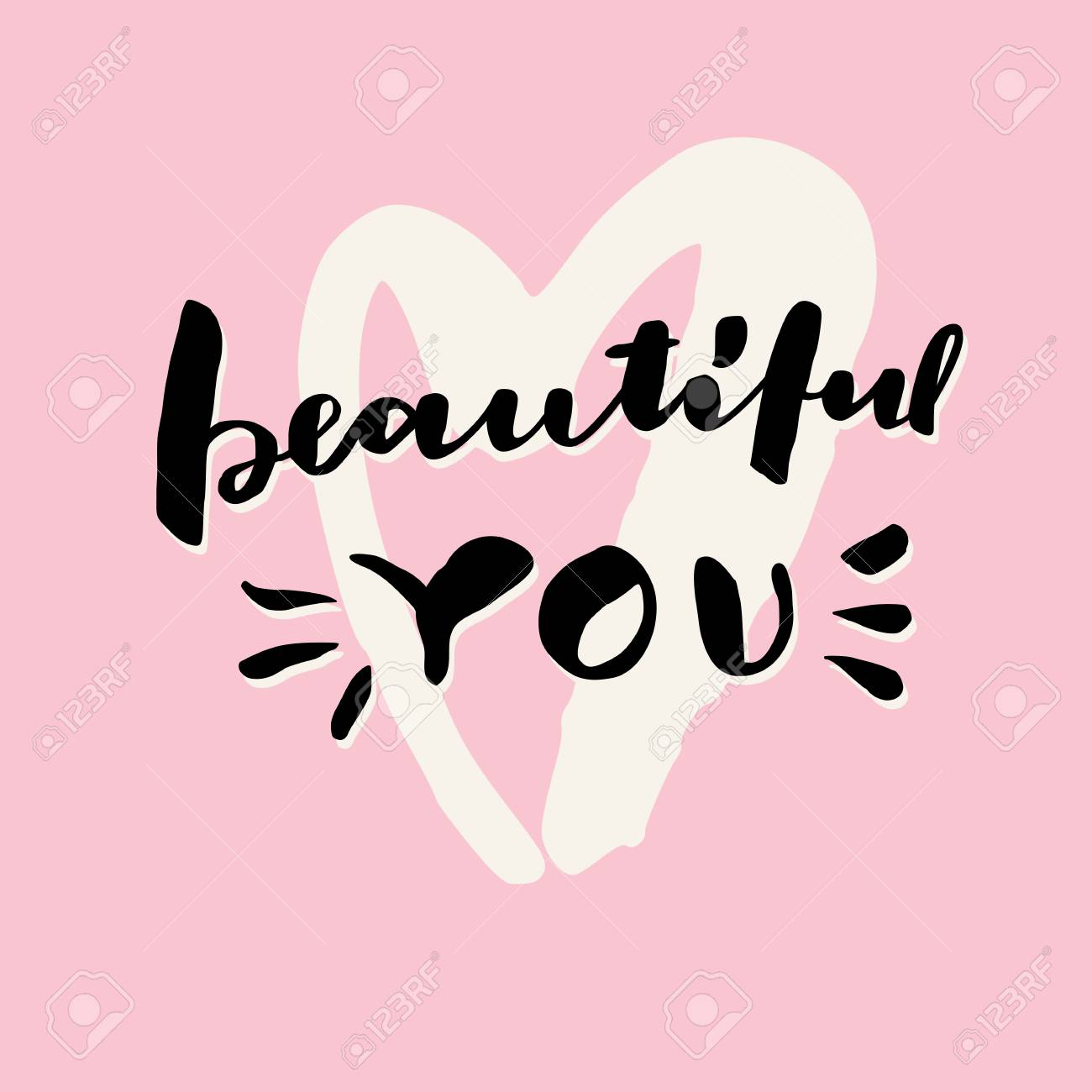 Beautiful you valentines day hand lettering greeting card valentines day hand lettering greeting card love message modern calligraphy on m4hsunfo