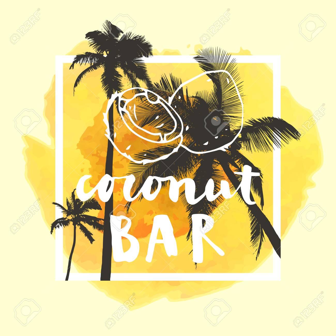 Yellow palm tree logo restaurant — 1