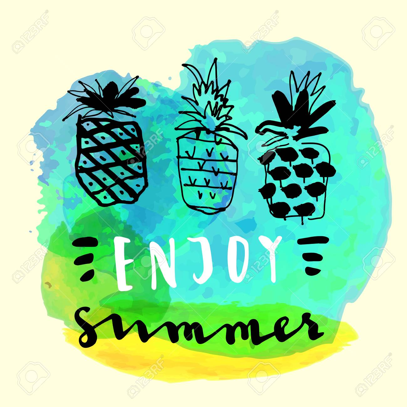 Enjoy Summer. Handwritten Inspirational Summer Quote. Greeting Card With  Pineapples And Watercolor Blot.