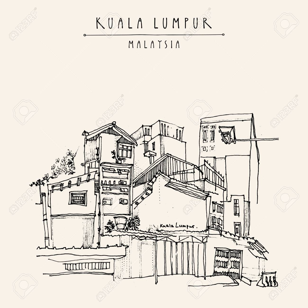Kuala Lumpur, Malaysia. Casual view of buildings in China Town. Travel postcard with freehand sketchy drawing and hand lettered title in vector - 70873436
