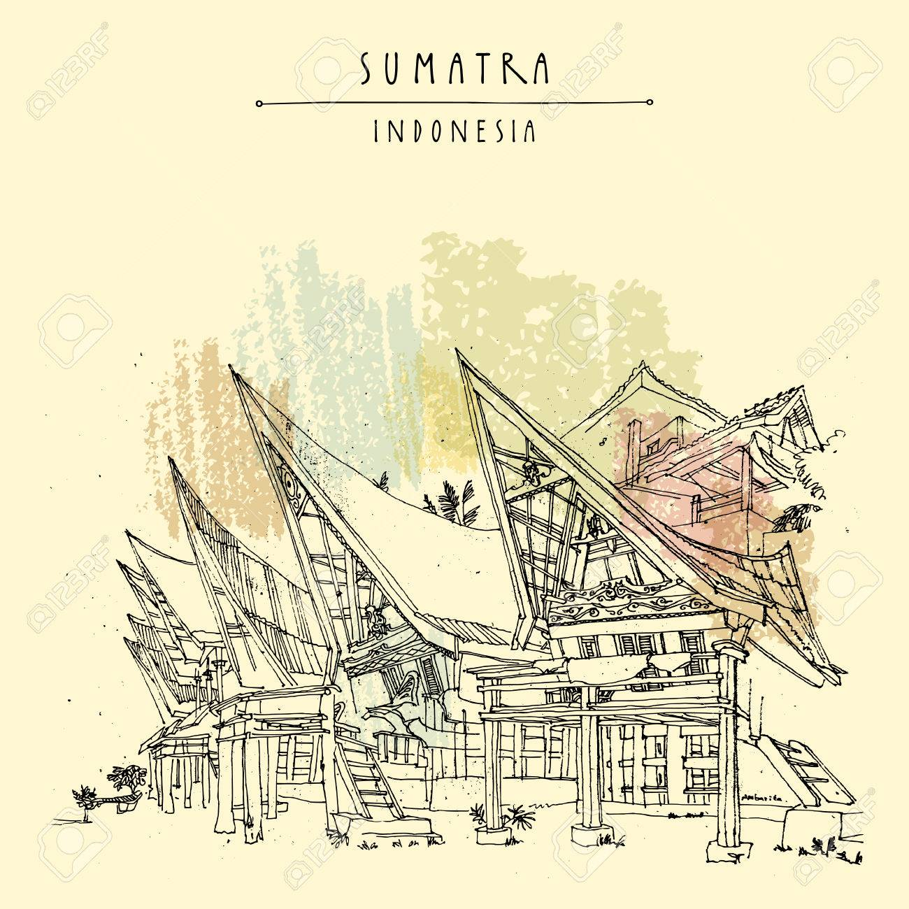 Houses on lake Toba, Sumatra, Indonesia, Asia. Unique traditional Batak tribal architechture. Travel sketch. Hand-drawn vintage book illustration, greeting card, postcard or poster template in vector - 71498114