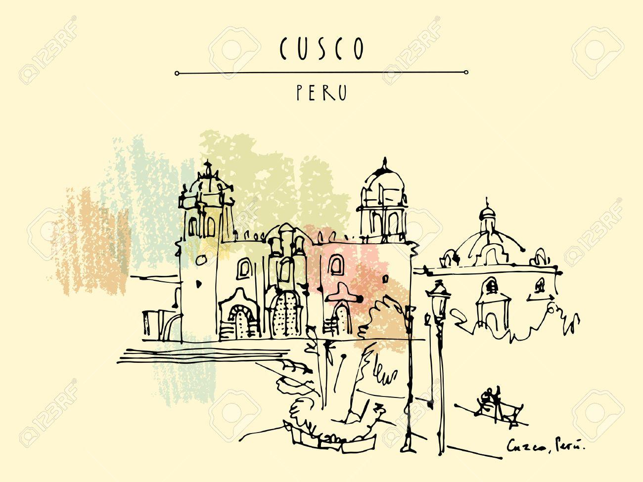 Plaza De Armas In Cusco Peru South America The Cathedral
