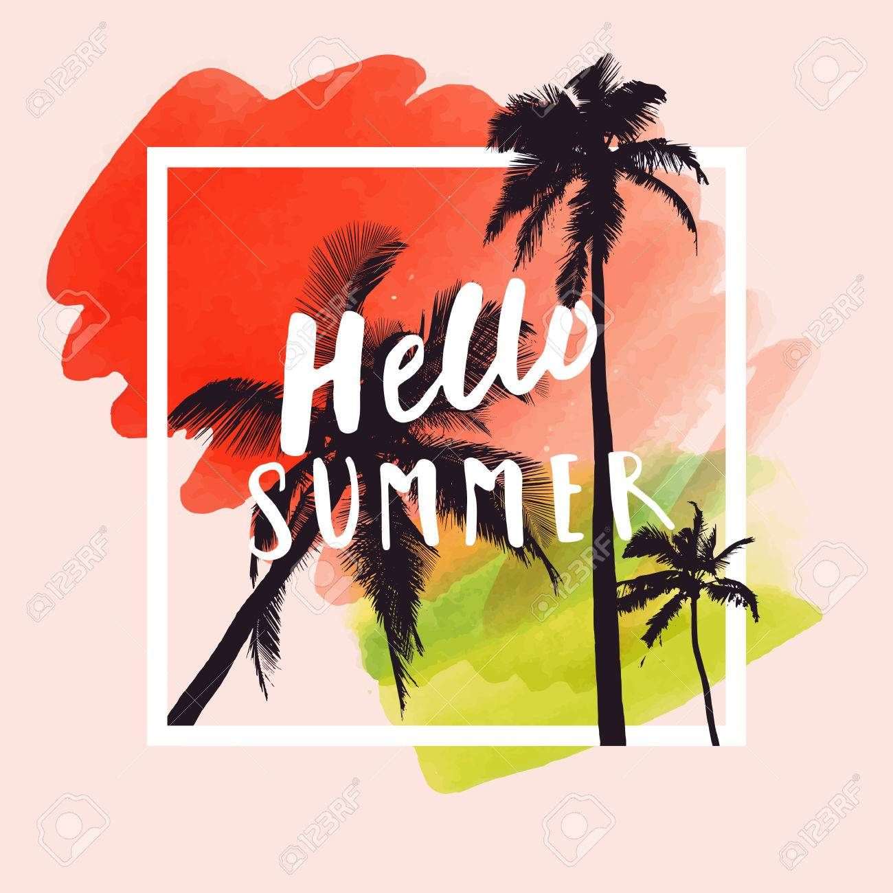 1281d181 Hello Summer. Modern calligraphic T-shirt design with flat palm trees on  bright colorful