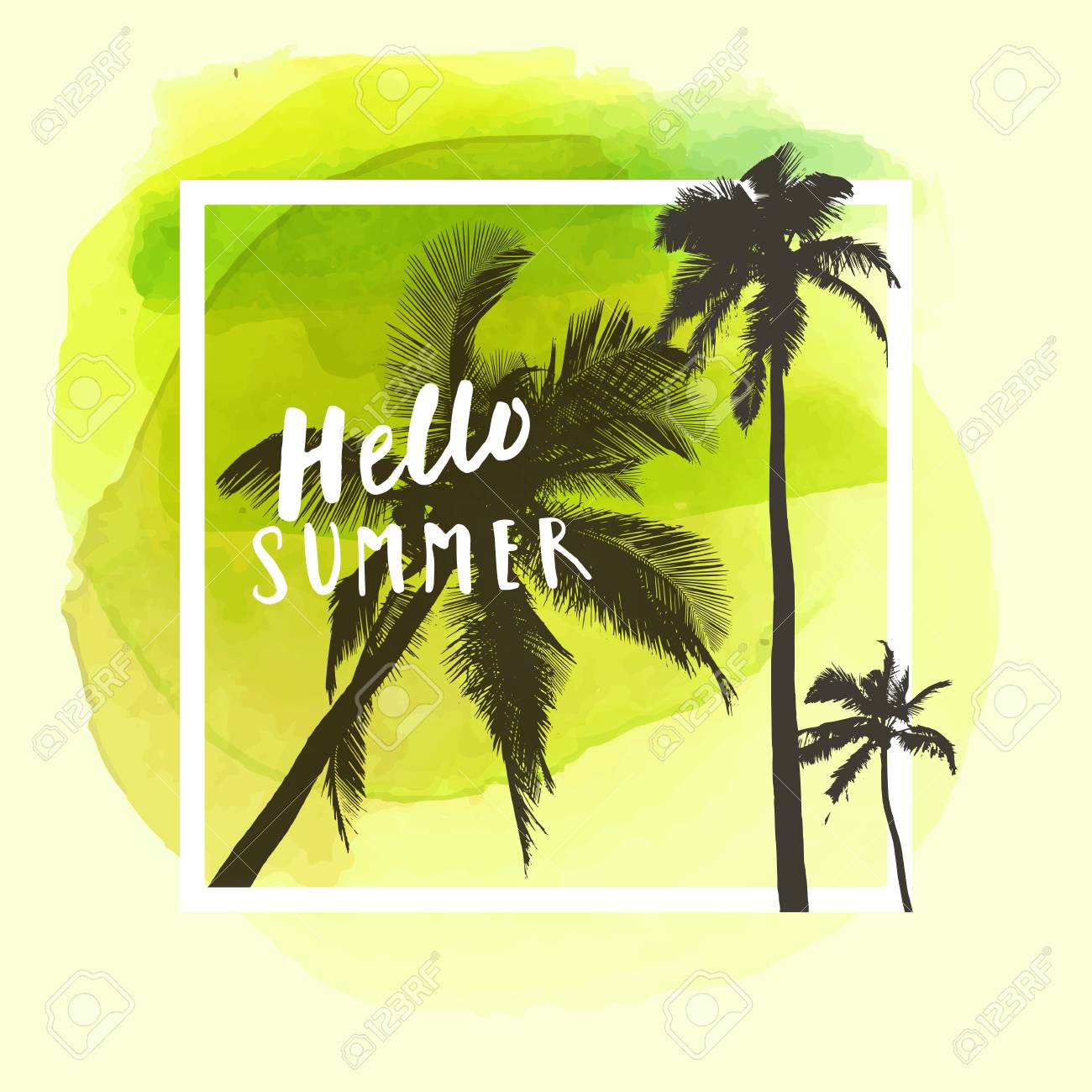 Hello Summer. Modern Calligraphic T-shirt Design With Flat Palm ...