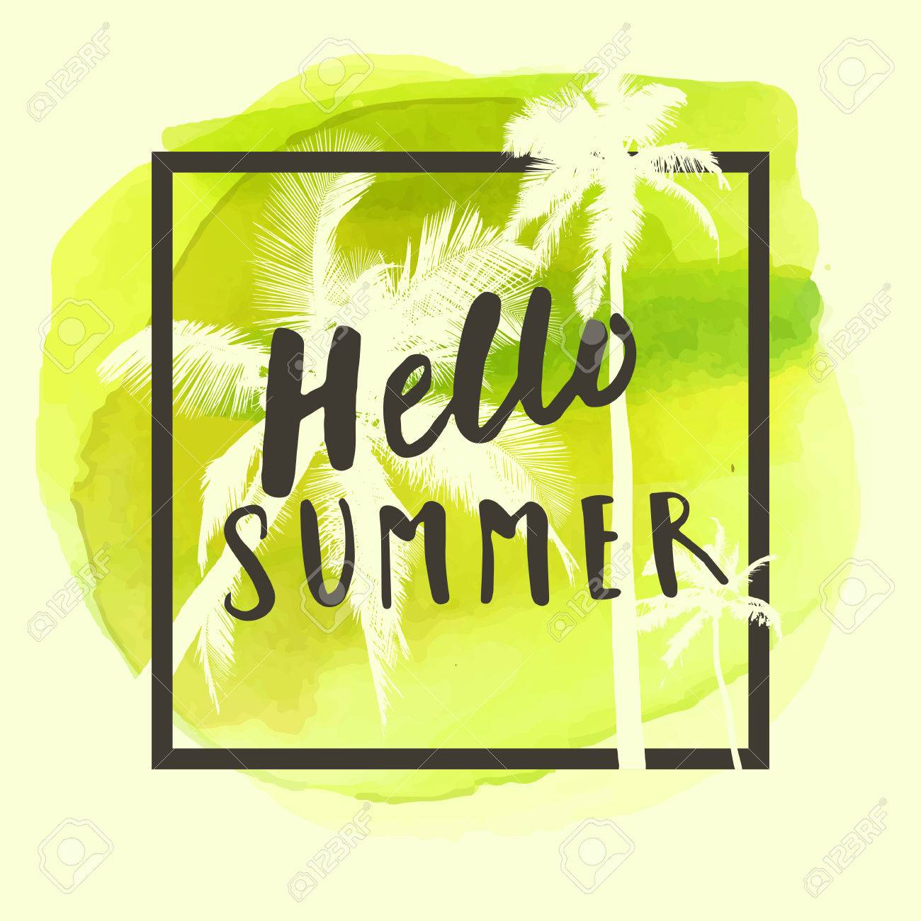 a39255a73008 Hello Summer. Modern calligraphic T-shirt design with flat palm trees on  bright colorful