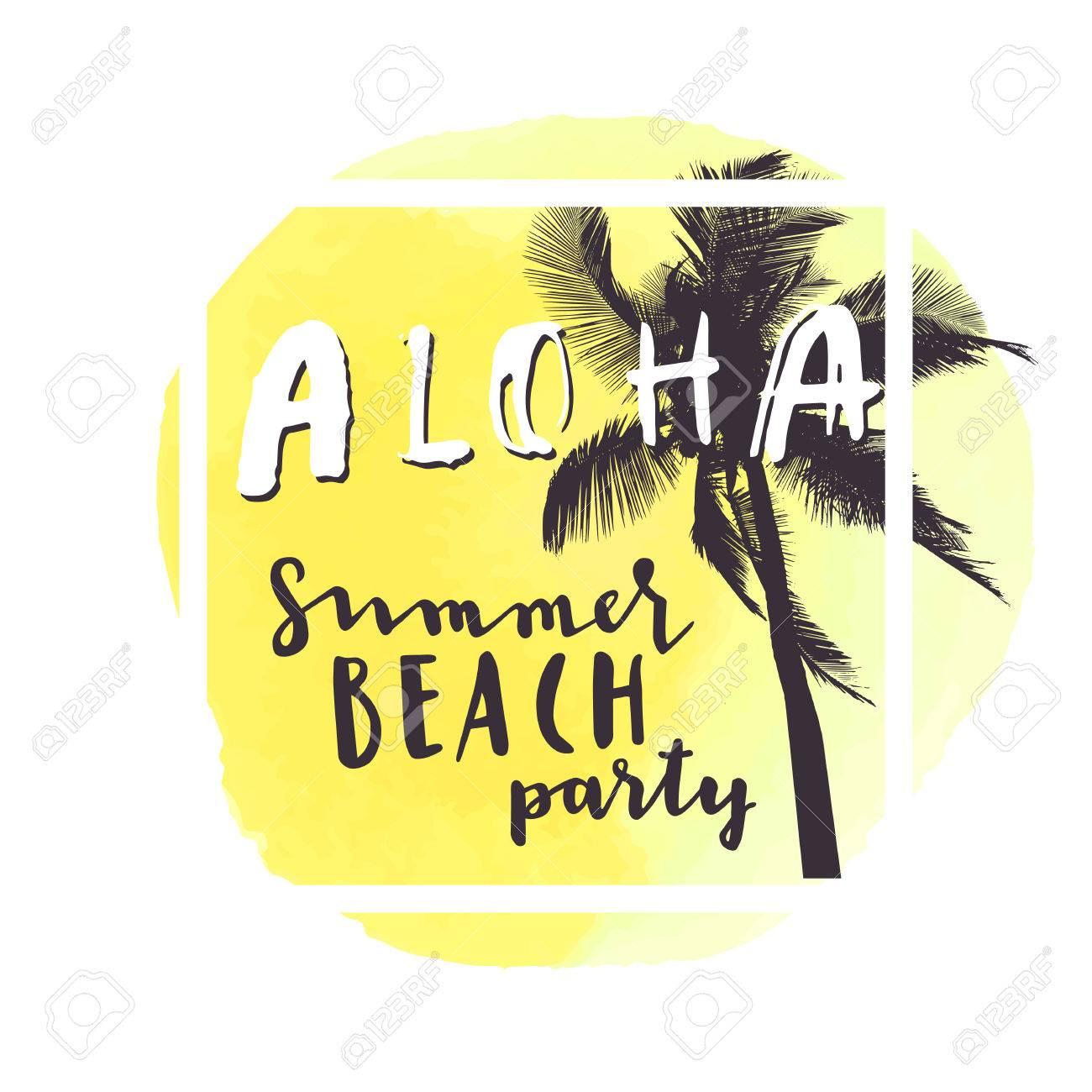aloha summer beach party yellow watercolor hand drawn greeting