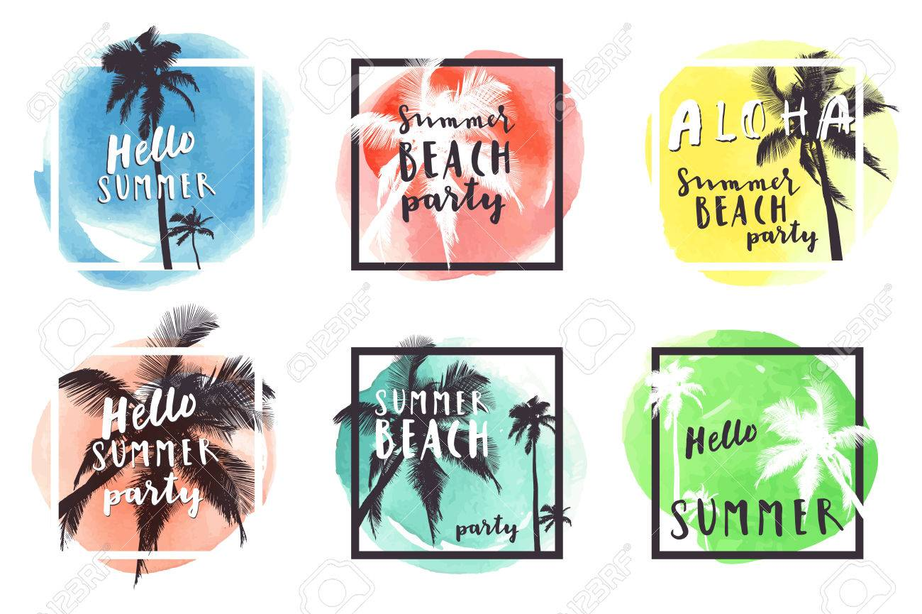Hello summer beach party aloha summer set of 6 watercolor hand hello summer beach party aloha summer set of 6 watercolor hand drawn greeting cards kristyandbryce Image collections