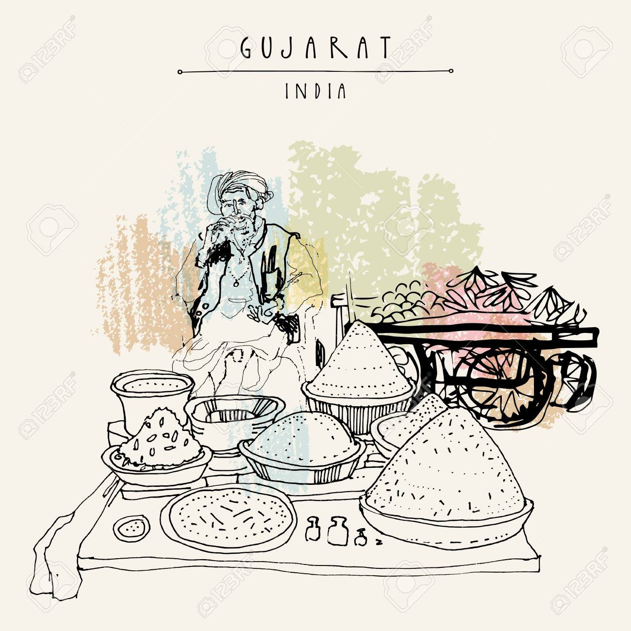 Spice market in Gujarat, India. Old Indian man wearing traditional attire with a turban. Travel art. Vintage hand drawn postcard in vector - 84632659