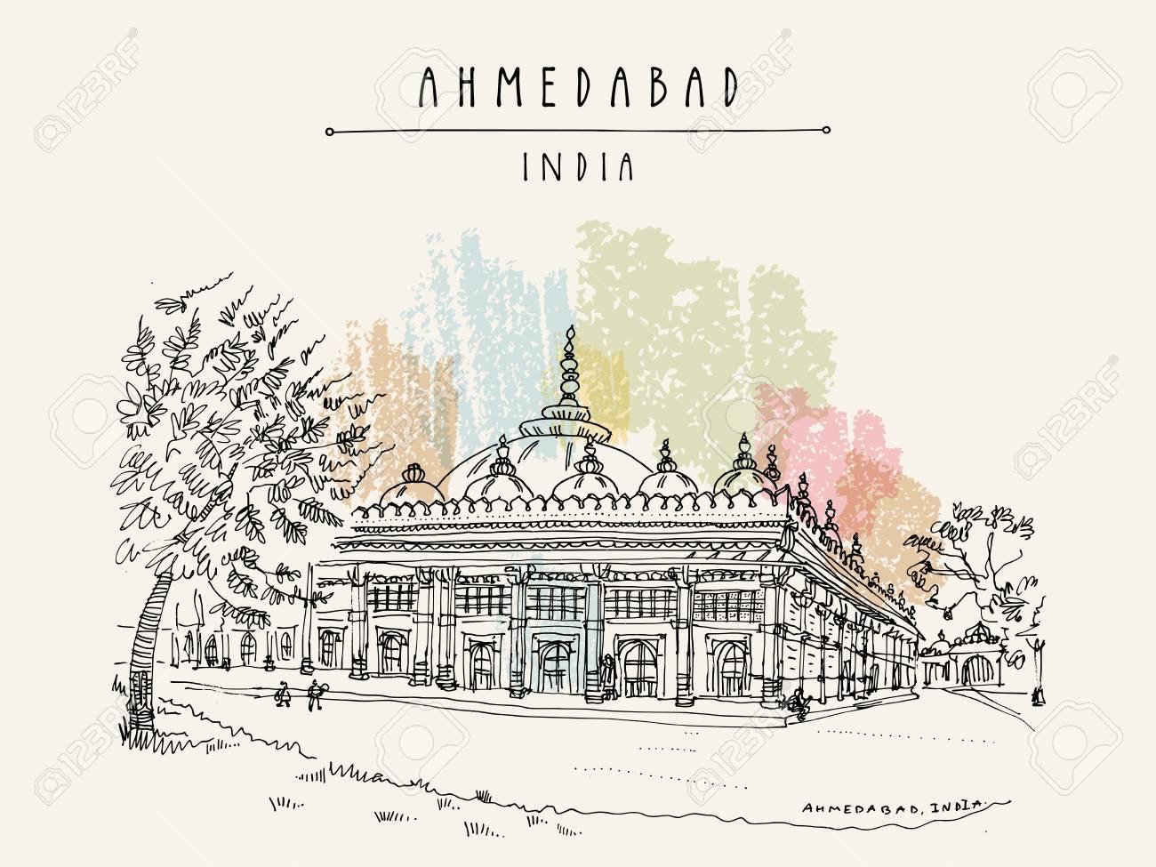 Carte Inde Ahmedabad.Tombe De Cheikh Ganj Baksh A Sarkhej Roza Pres D Ahmedabad Ahmadabad Gujarat Inde Pierre Ornee Art De Croquis De Voyage Carte Postale Vintage