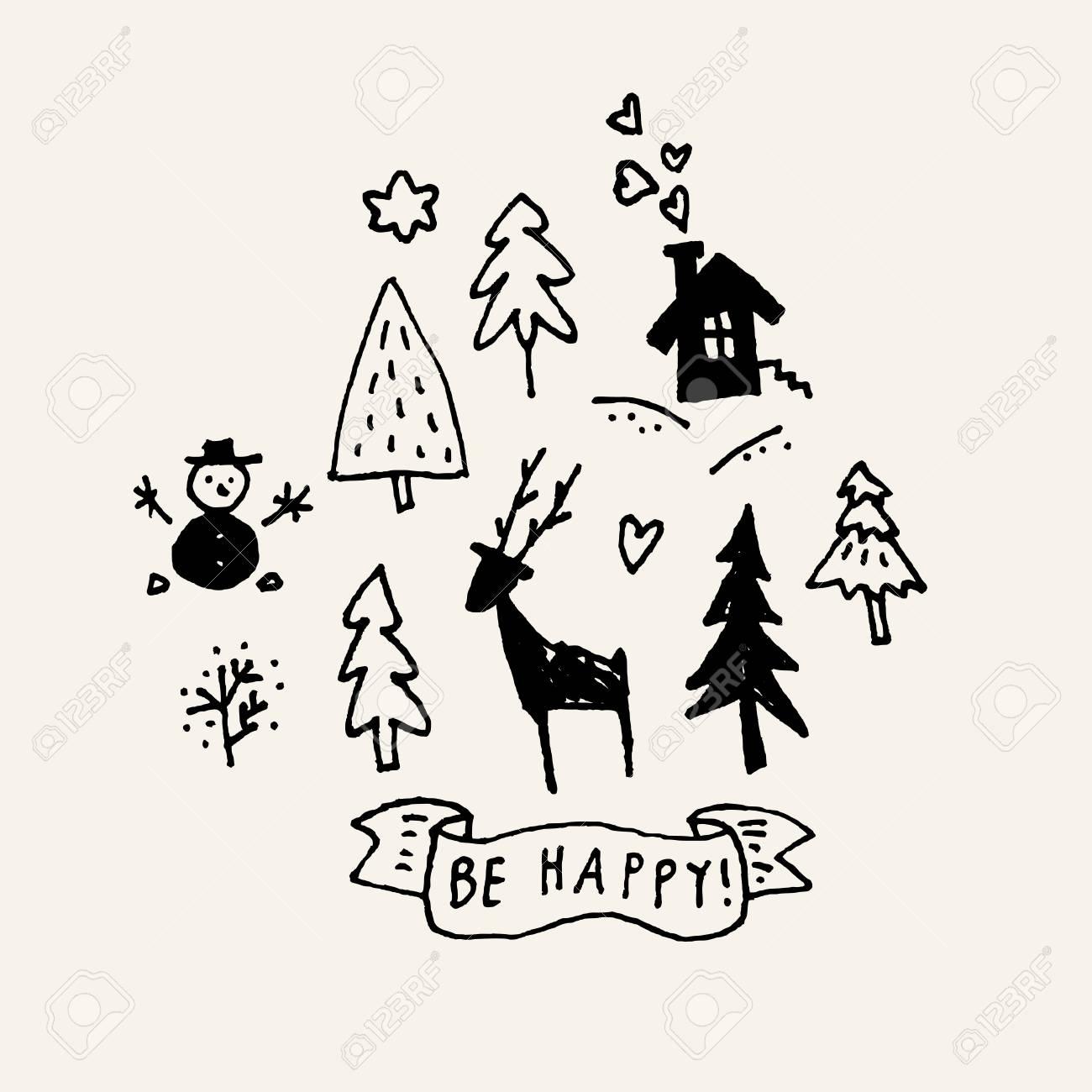 Soyez Heureux. Joyeux Noël Doodle Calligraphique Dessinés à La