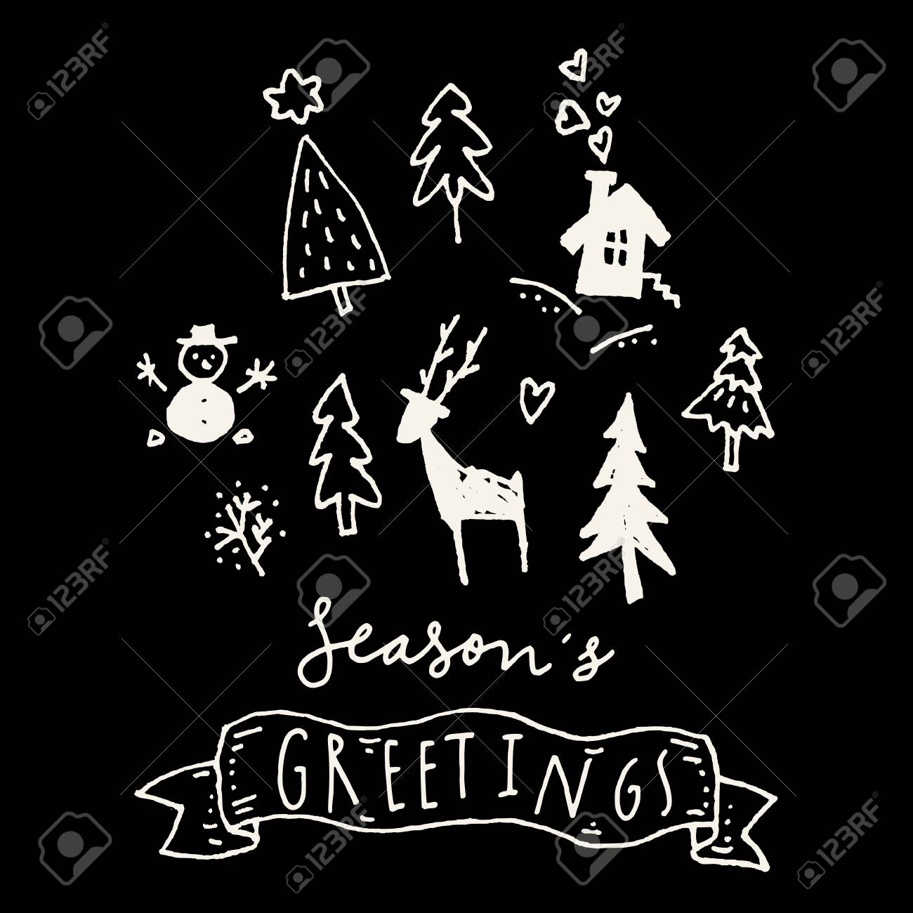Seasons greetings merry christmas calligraphic hand drawn greeting seasons greetings merry christmas calligraphic hand drawn greeting card in black and white vector m4hsunfo