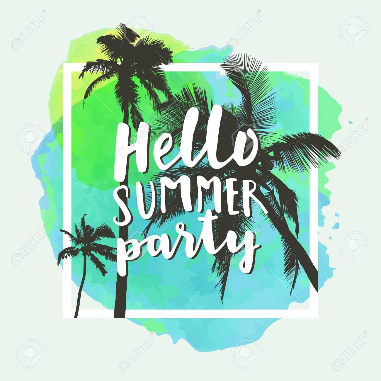 Summer T Shirt Designs   Hello Summer Party Modern Calligraphic T Shirt Design With Flat