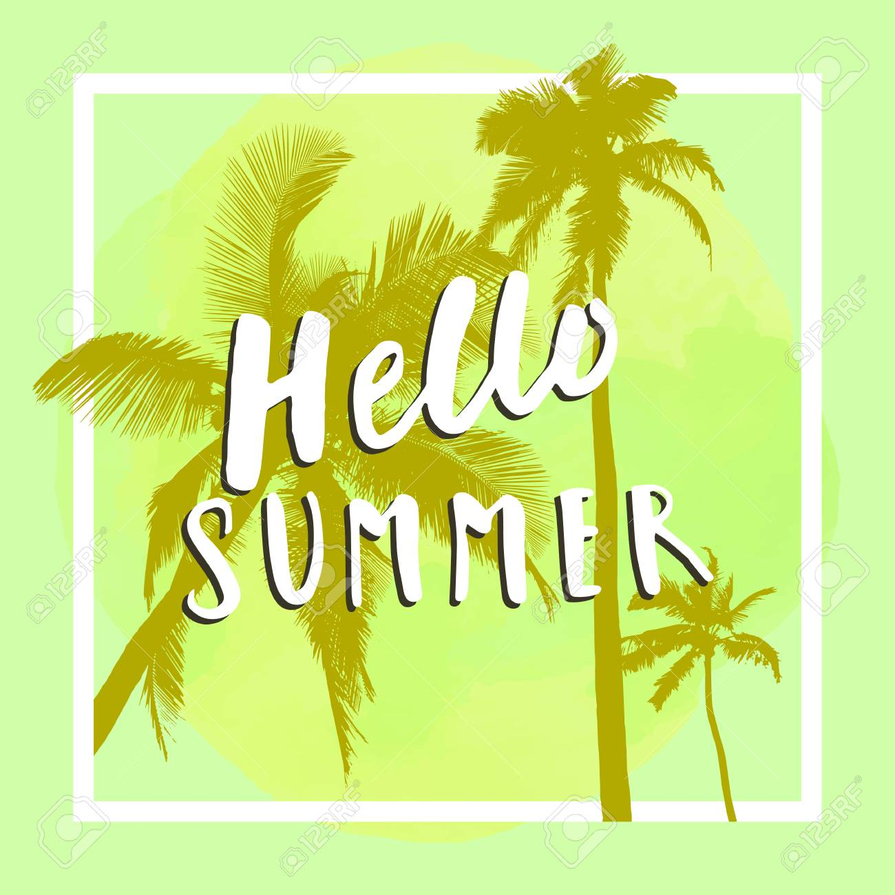 590936e3f896 Hello Summer. Modern calligraphic T-shirt design with flat palm trees on  yellow colorful