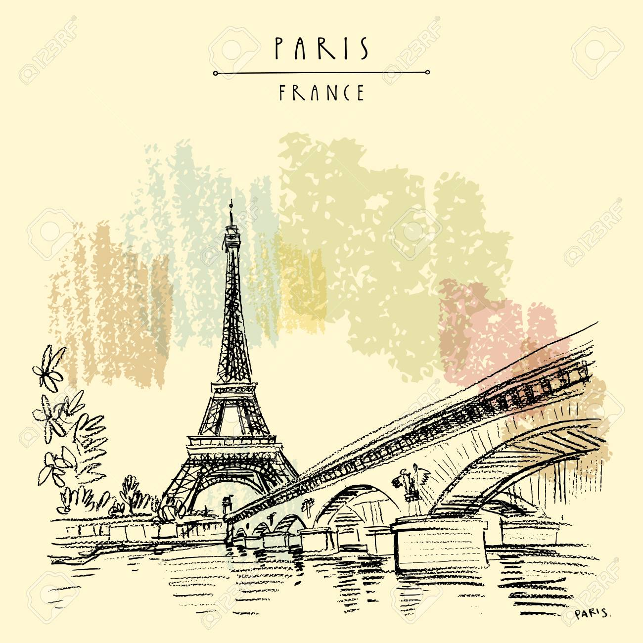 Eiffel Tower in Paris, France. Bridge and water. Hand drawing in retro style. Travel sketch. Vintage hand drawn touristic postcard, poster or book illustration in vector - 111830165