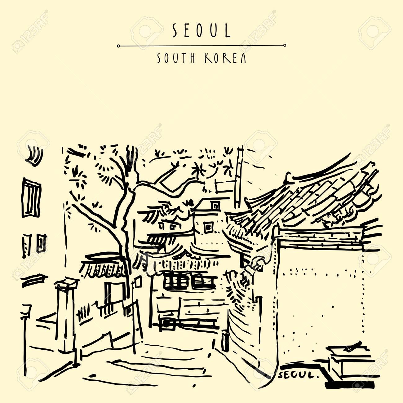 Seoul, South Korea, Asia  Traditional Korean Hanok houses  Hanok
