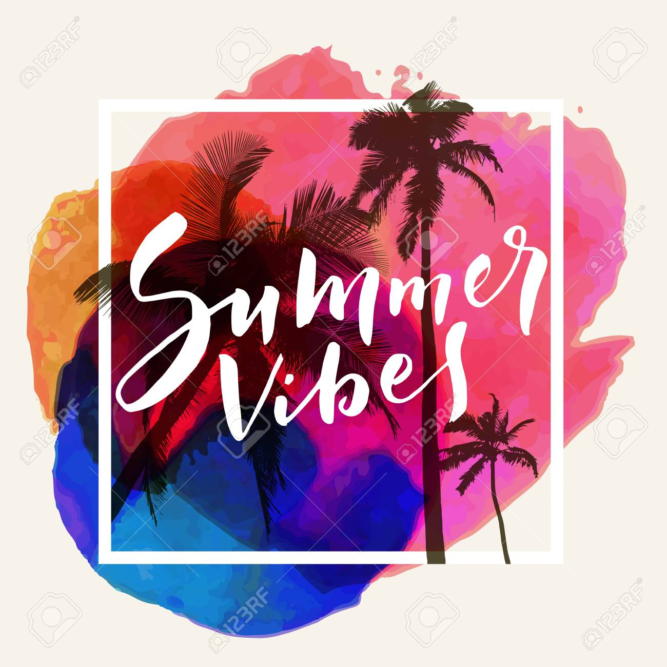 Summer Vibes Calligraphic Inspirational Quote Poster On Tropical