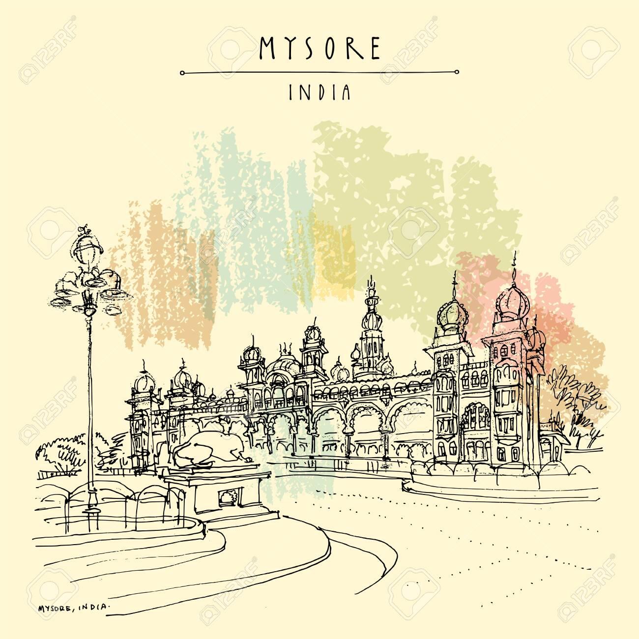 Mysore (Mysuru), Karnataka, India. Mysore palace. Travel sketch. Vintage hand drawn postcard template. Vector - 123612426