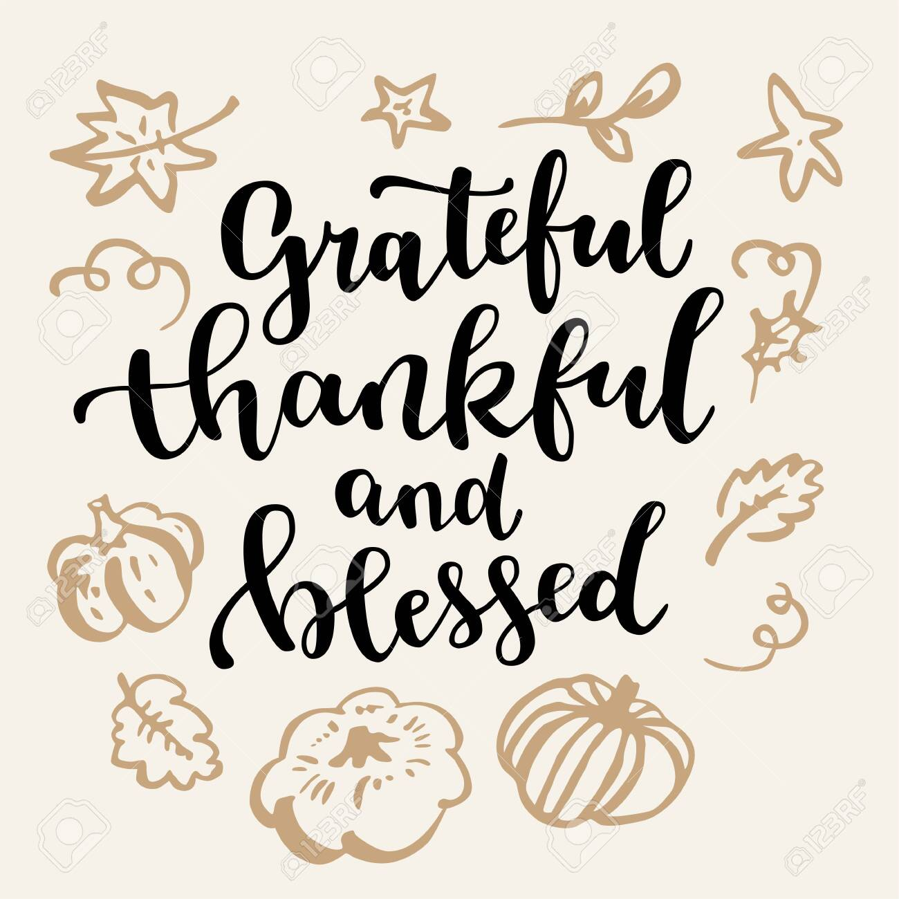 Grateful Thankful And Blessed Thanksgiving Quote Fall Modern Royalty Free Cliparts Vectors And Stock Illustration Image 129396451