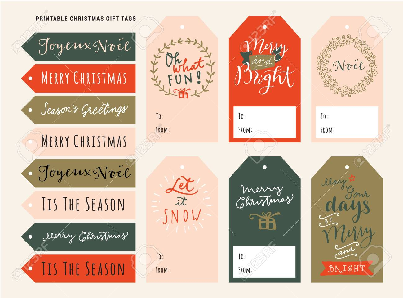 Printable Personalized Merry Christmas Gift Tags Holiday Season Royalty Free Cliparts Vectors And Stock Illustration Image 134637763
