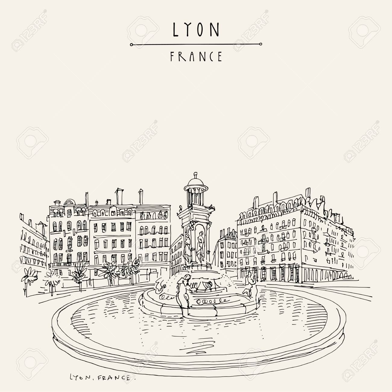 Fountain in Lyon, France, Europe. European city illustration. Hand drawing in retro style. Travel sketch. Vintage hand drawn touristic postcard, poster or book illustration - 136075637