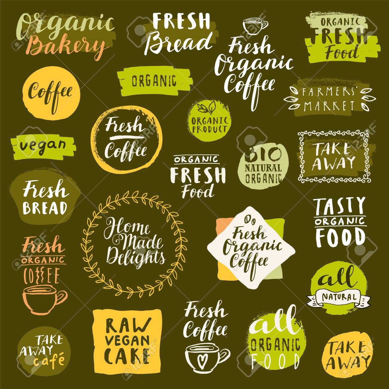 Bio organic labels set. Fresh Bread Bakery. Fresh coffee emblems. Food and drinks for healthy life on quarantine. Fresh organic take away labels collection. Logo templates. Calligraphic badges. Vector - 144667701