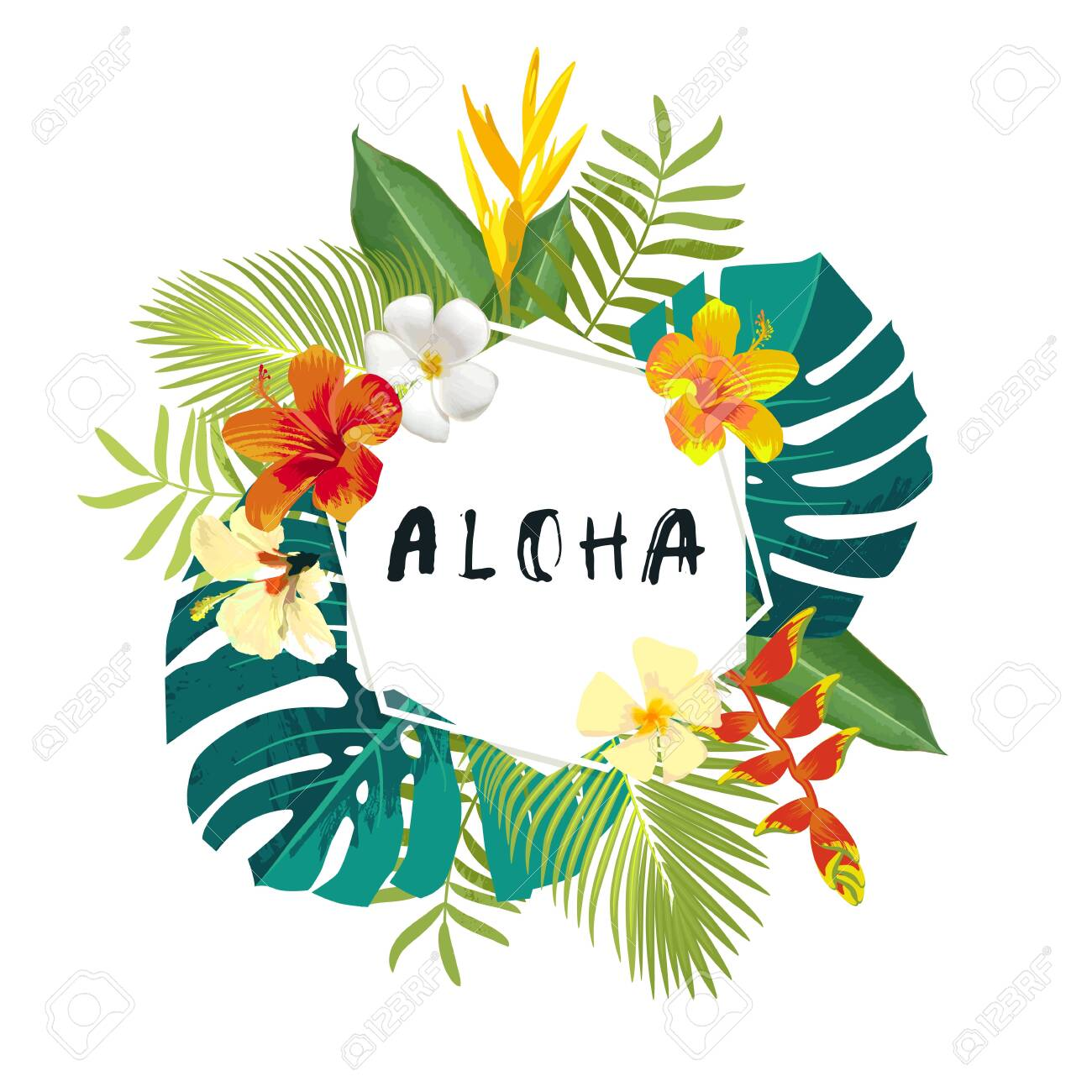 Aloha summer calligraphy card. Summertime banner, poster with exotic tropical leaves, flowers. Hexagon frame bright jungle background. Vivid bright colors. Hawaiian beach party flyer template - 147245737