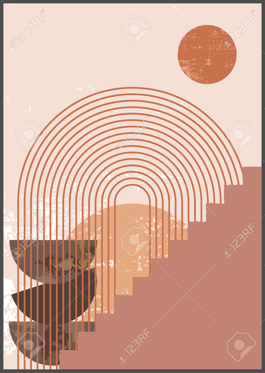Minimalist Wall Art Abstract Geometric Boho Aesthetic Interior Home Decor Neutral Colors Wall Print Grungy Organic Texture Geometric Shapes Lines Circles Stairs Contemporary Artistic Print Royalty Free Cliparts Vectors And Stock Illustration