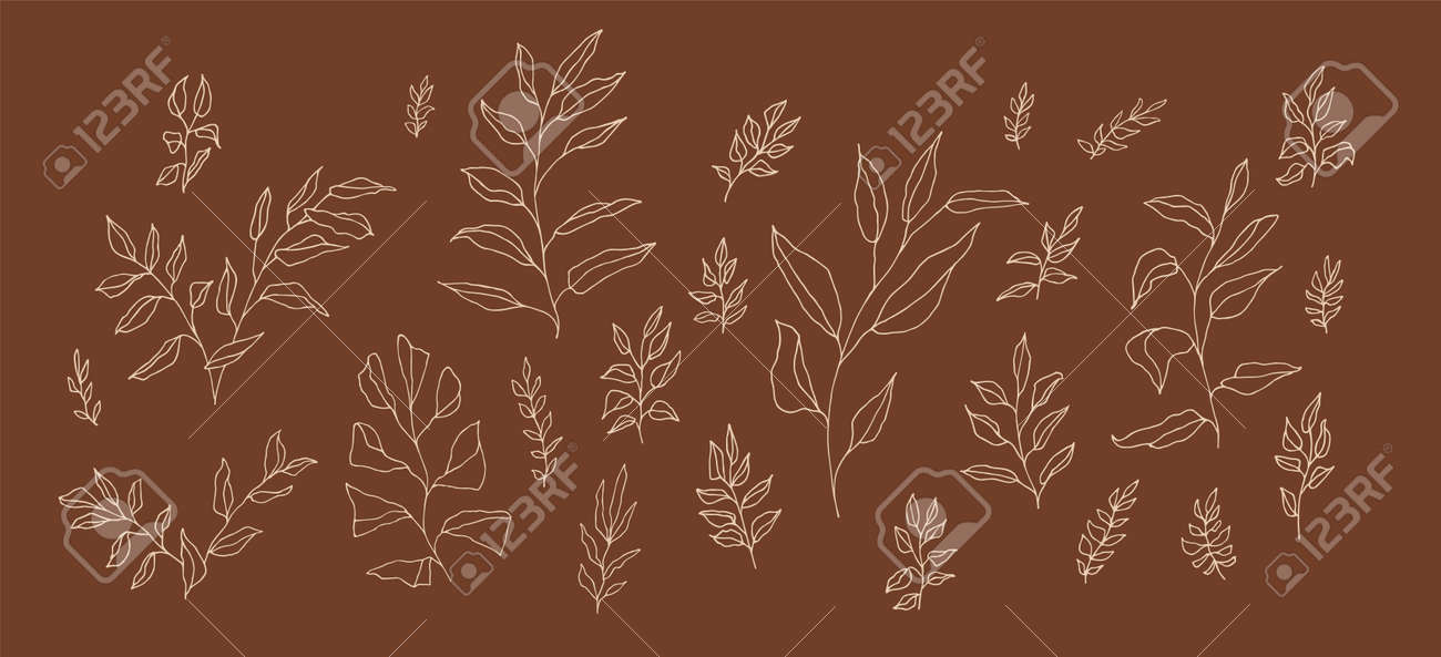 Boho aesthetic botanical set of linear handdrawn twigs. Bohemian style artistic branches collection for wedding invitation design. Retro style elegant doodle herb drawing. Plant leaf decoration - 173384133
