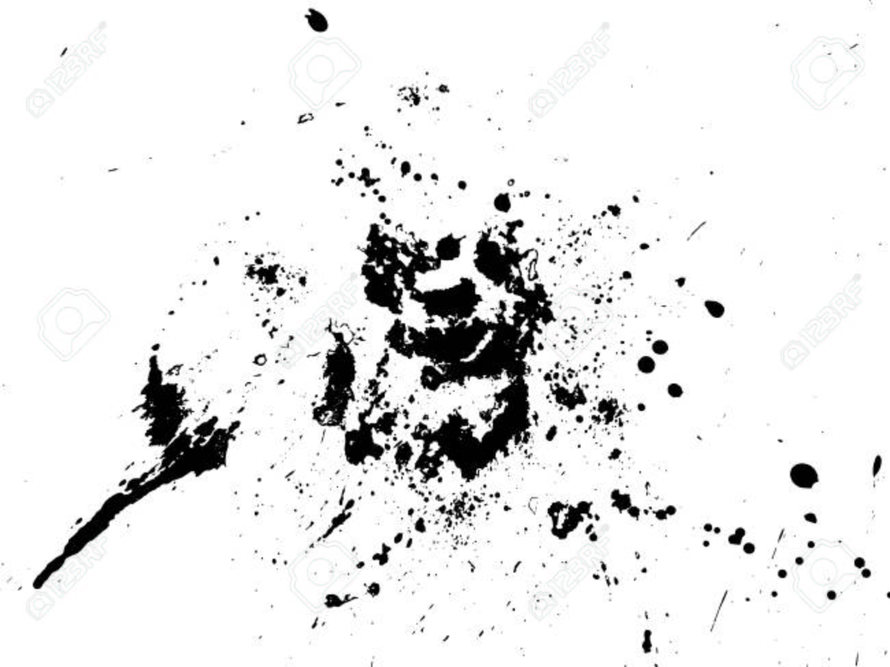 Hand-made grunge texture  Abstract ink drops background  Black