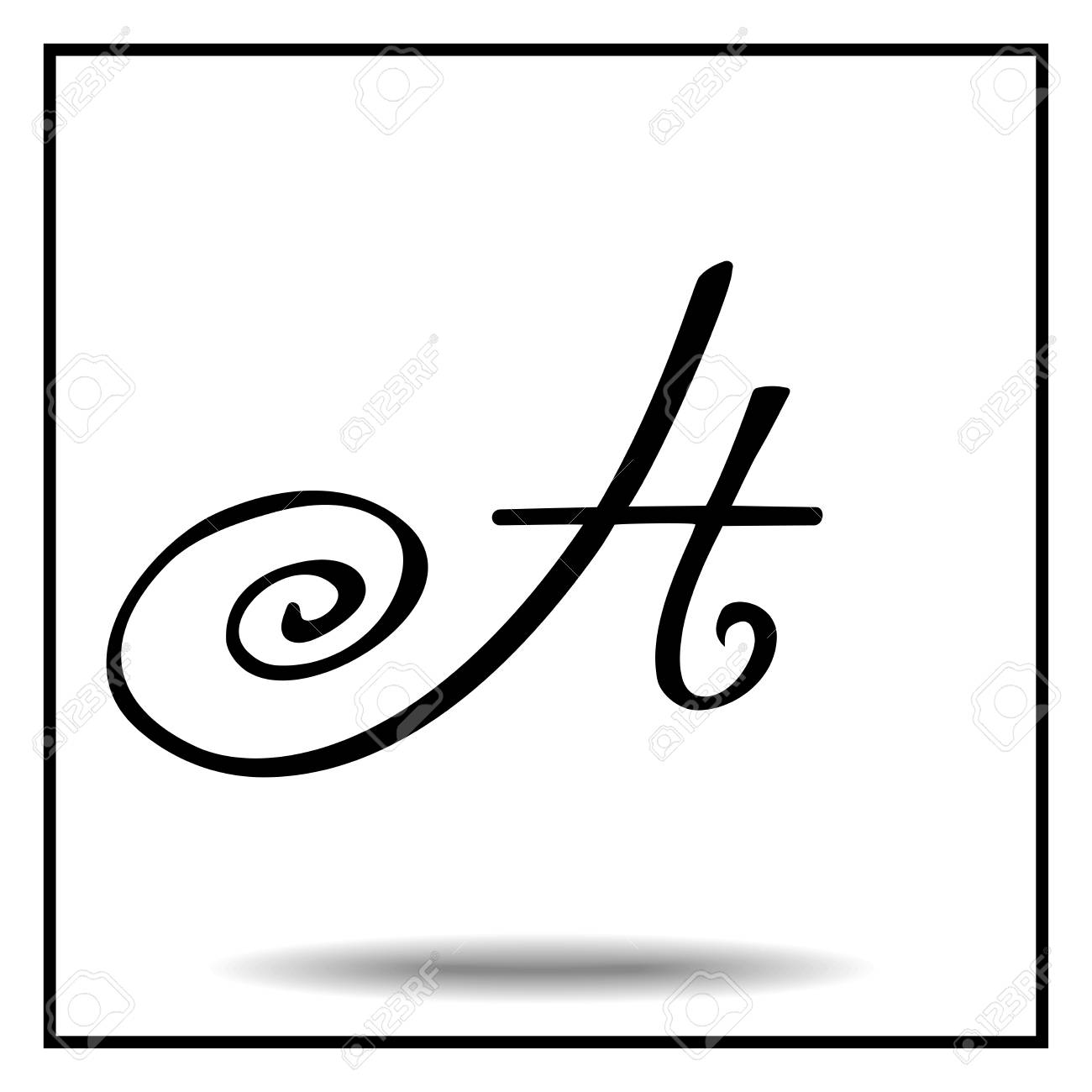 Black And White Vintage Letter H Stock Vector