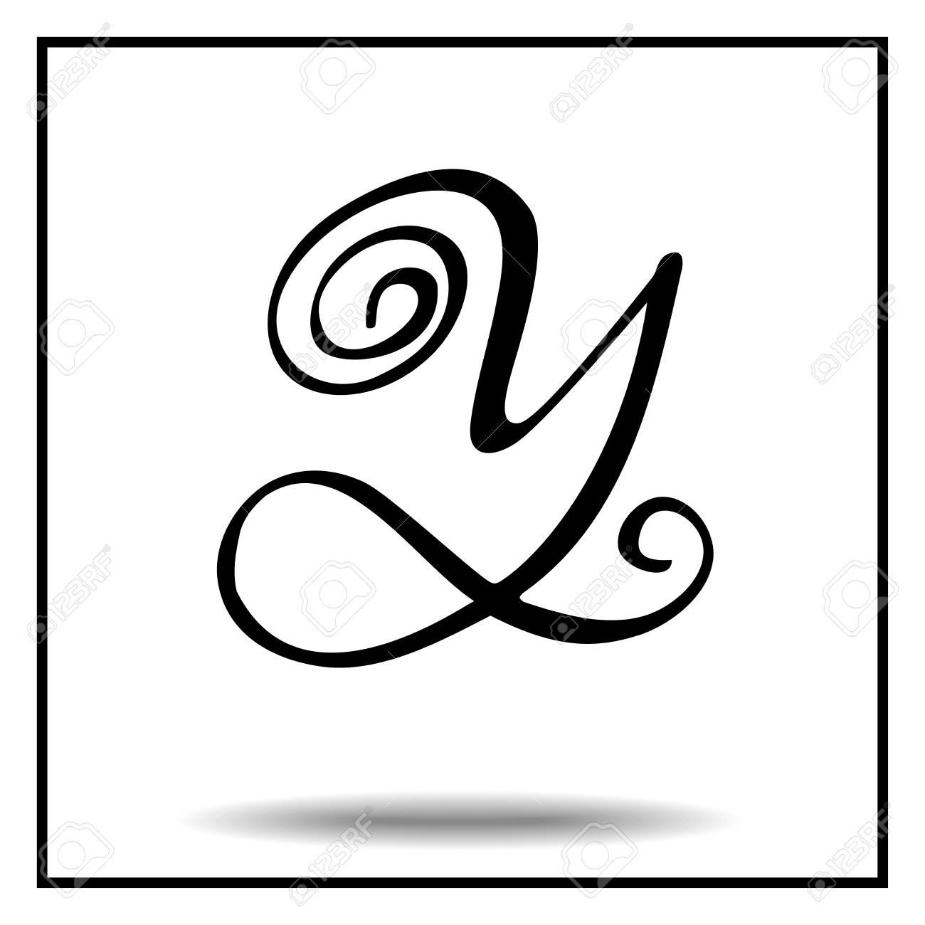 Elegant Handmade Font Black And White Vintage Letter Y Royalty Free