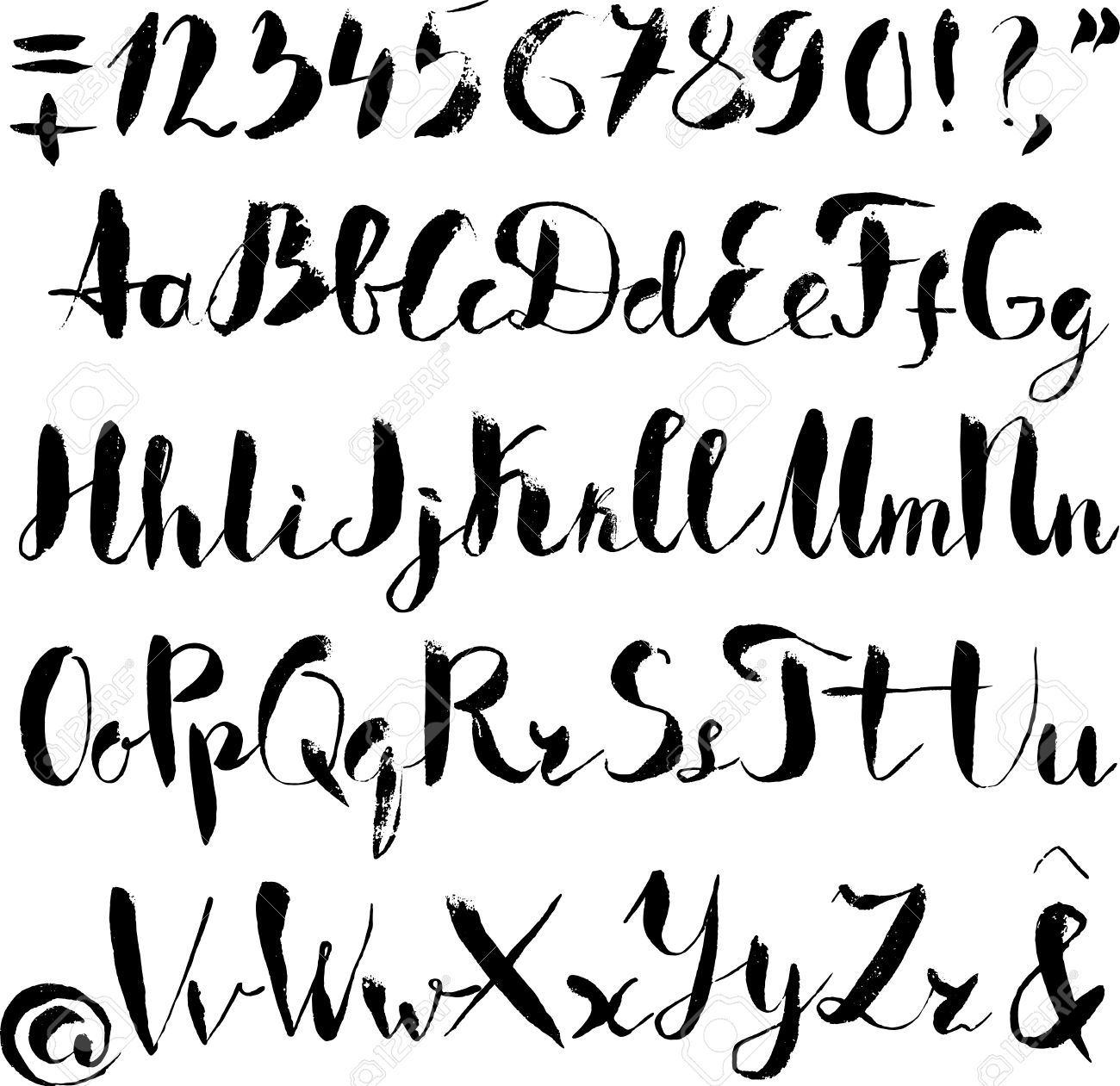Handwritten Alphabet Written With Brush Pen ABC Poster Calligraphic Letters Composition