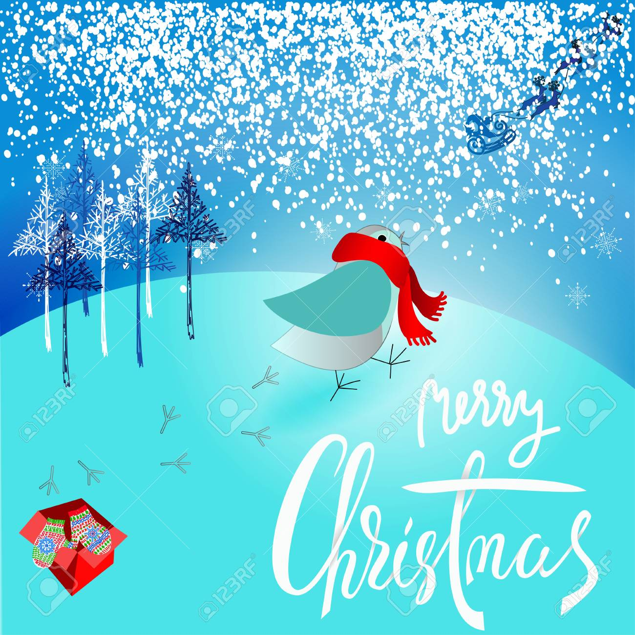Weihnachtsmann Brachte Ein Schlechtes Geschenk. Verärgerte Vogel ...