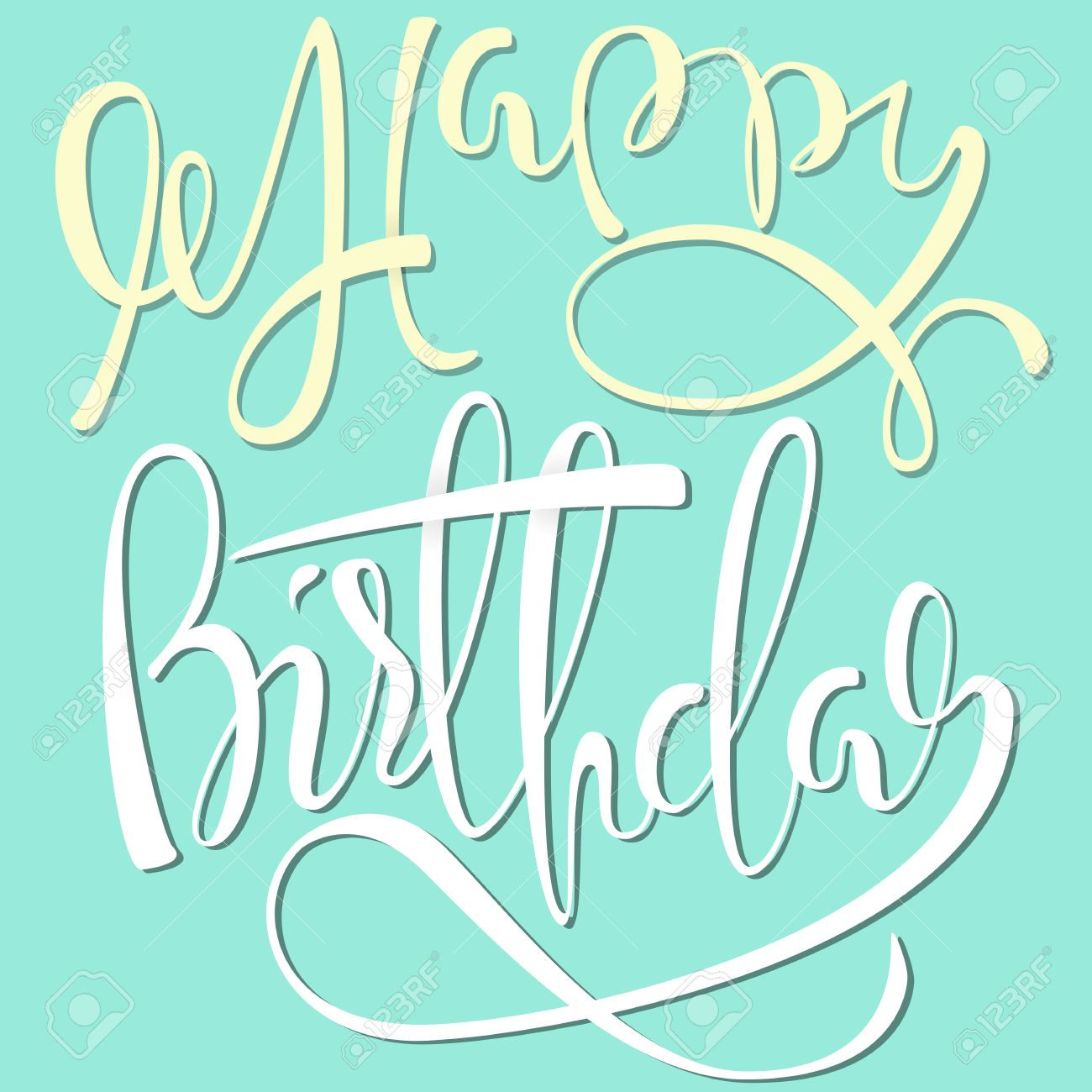 Happy Birthday White And Yellow Lettering On Mint Color Background Stock Vector